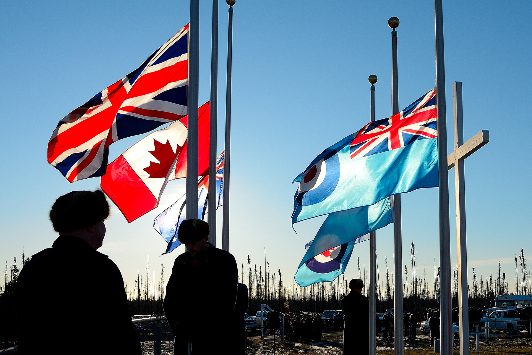 Flags fly at half-staff in the Commonwealth Cemetery at 5 Wing Goose Bay, Newfoundland and Labrador, during the Remembrance Day ceremony held on November 11, 2015. PHOTO: Master Corporal Krista Blizzard