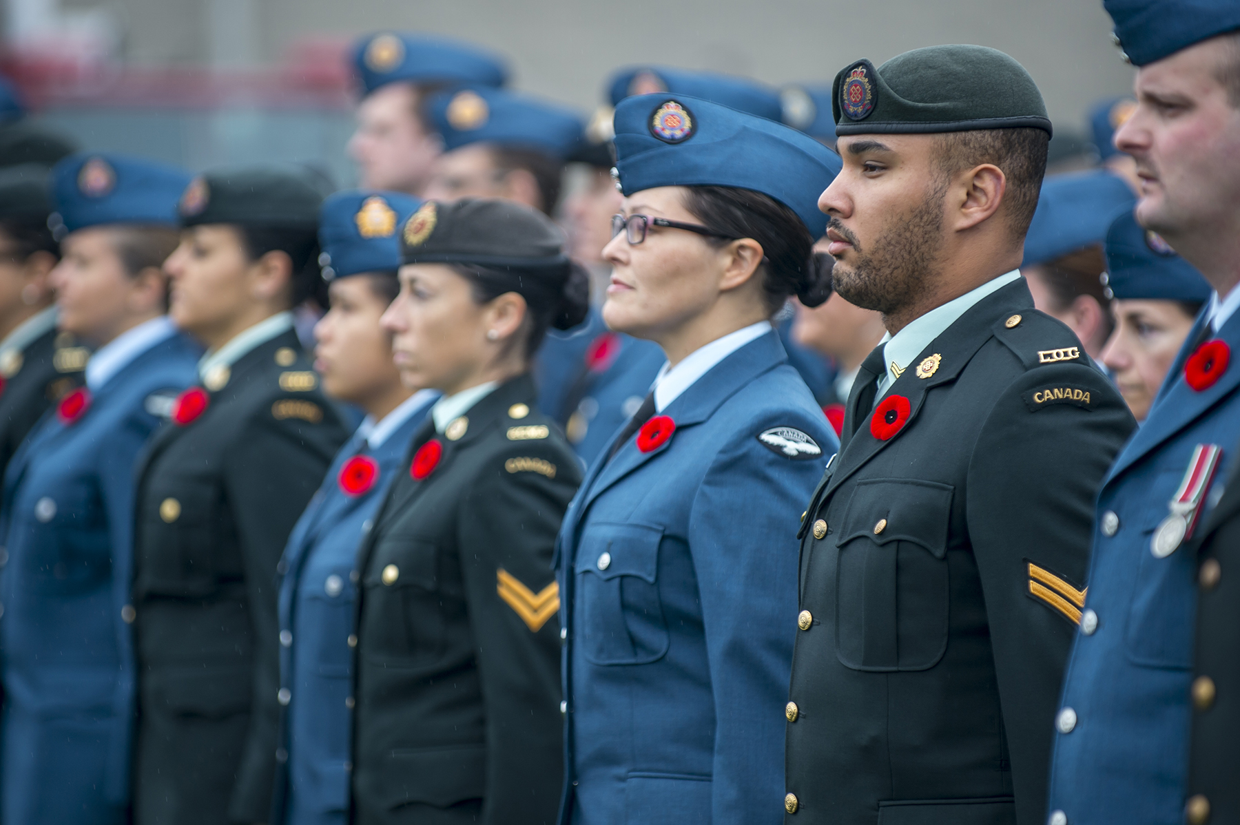 On November 11, 2015, Royal Canadian Air Force and Canadian Army members stand at attention during the Remembrance Day ceremony in Trenton, Ontario. PHOTO: Master Corporal Mathieu St-Amour