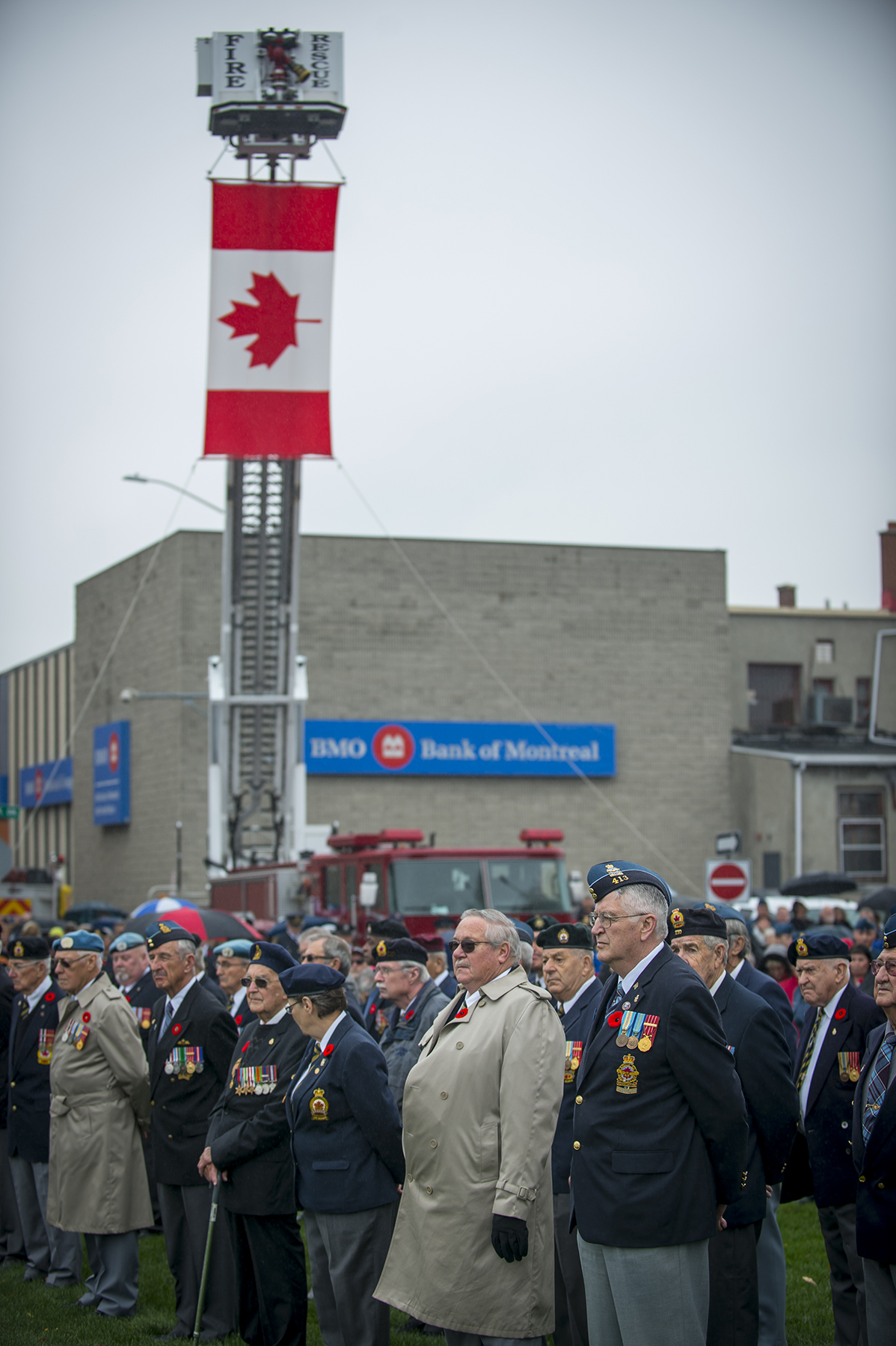 Canadian Armed Forces veterans attend the 2015 Remembrance Day ceremony held November 11, 2015, in Trenton, Ontario. PHOTO: Master Corporal Mathieu St-Amour