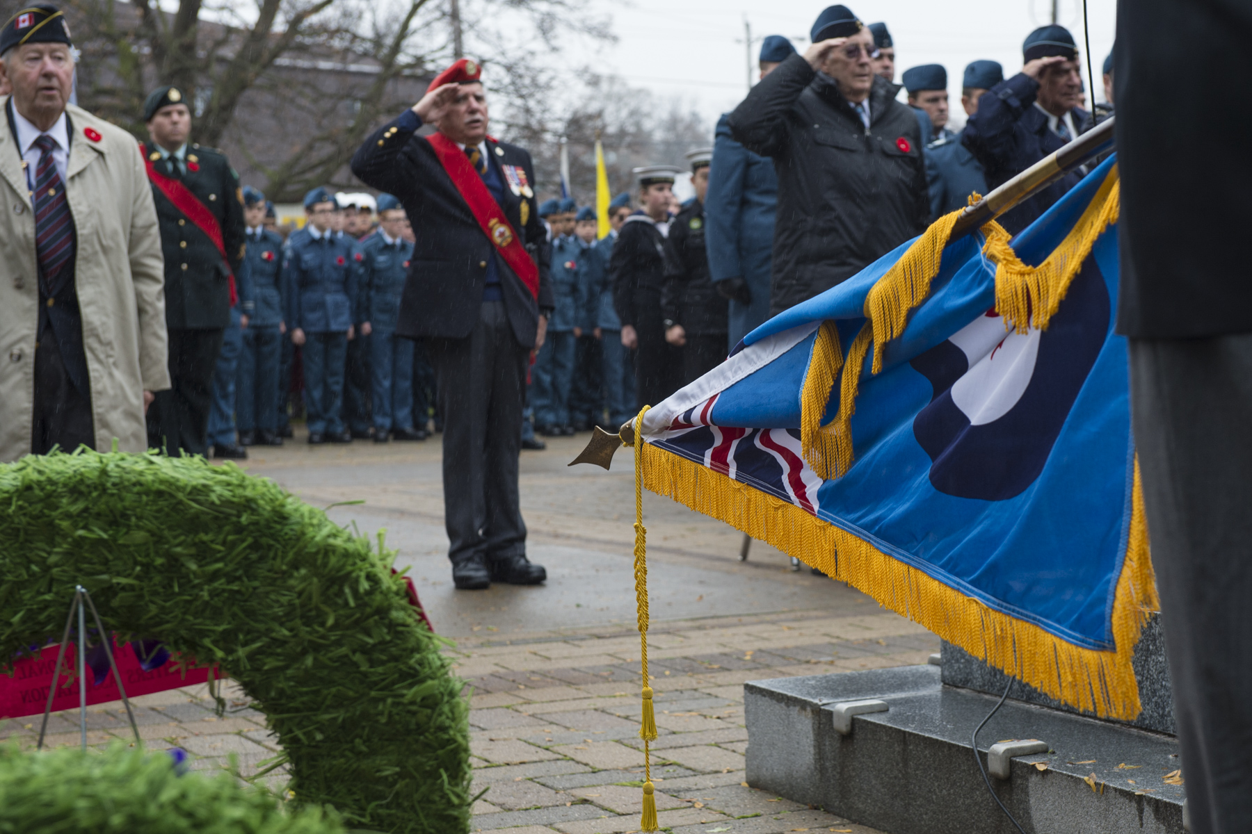 Royal Canadian Air Force  and Canadian Army members, veterans, and Air Force and Navy cadets participate in the Remembrance Day ceremony in Belleville, Ontario, on November 11, 2015. PHOTO: Corporal Ken Beliwicz