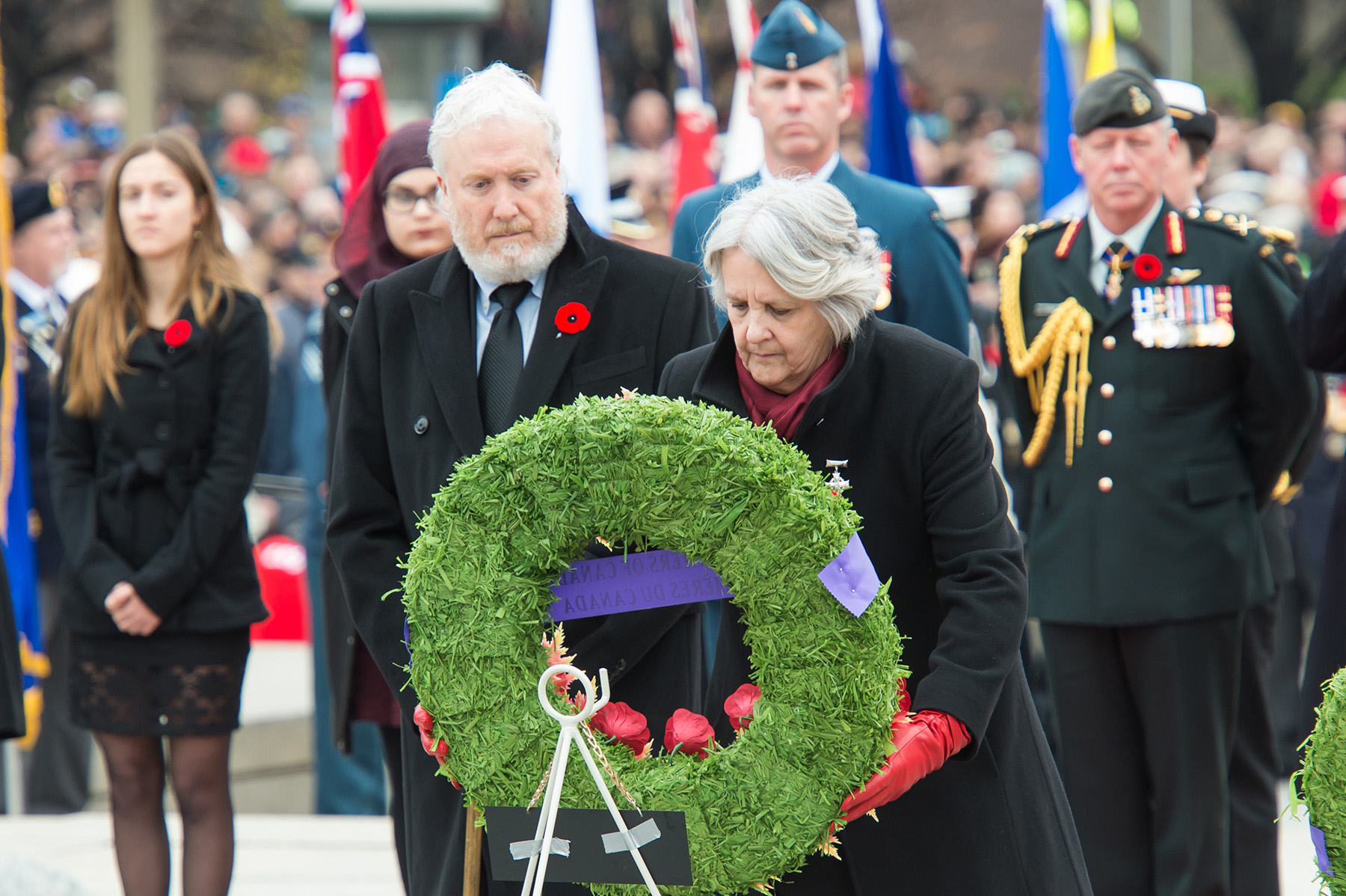 Sheila Anderson, the Royal Canadian Legion's Silver Cross mother, places a wreath at the National War Memorial during the 2015 Remembrance Day ceremony held at the National War Memorial in Ottawa, Ontario, on November 11, 2015. PHOTO: Corporal Chase Miller