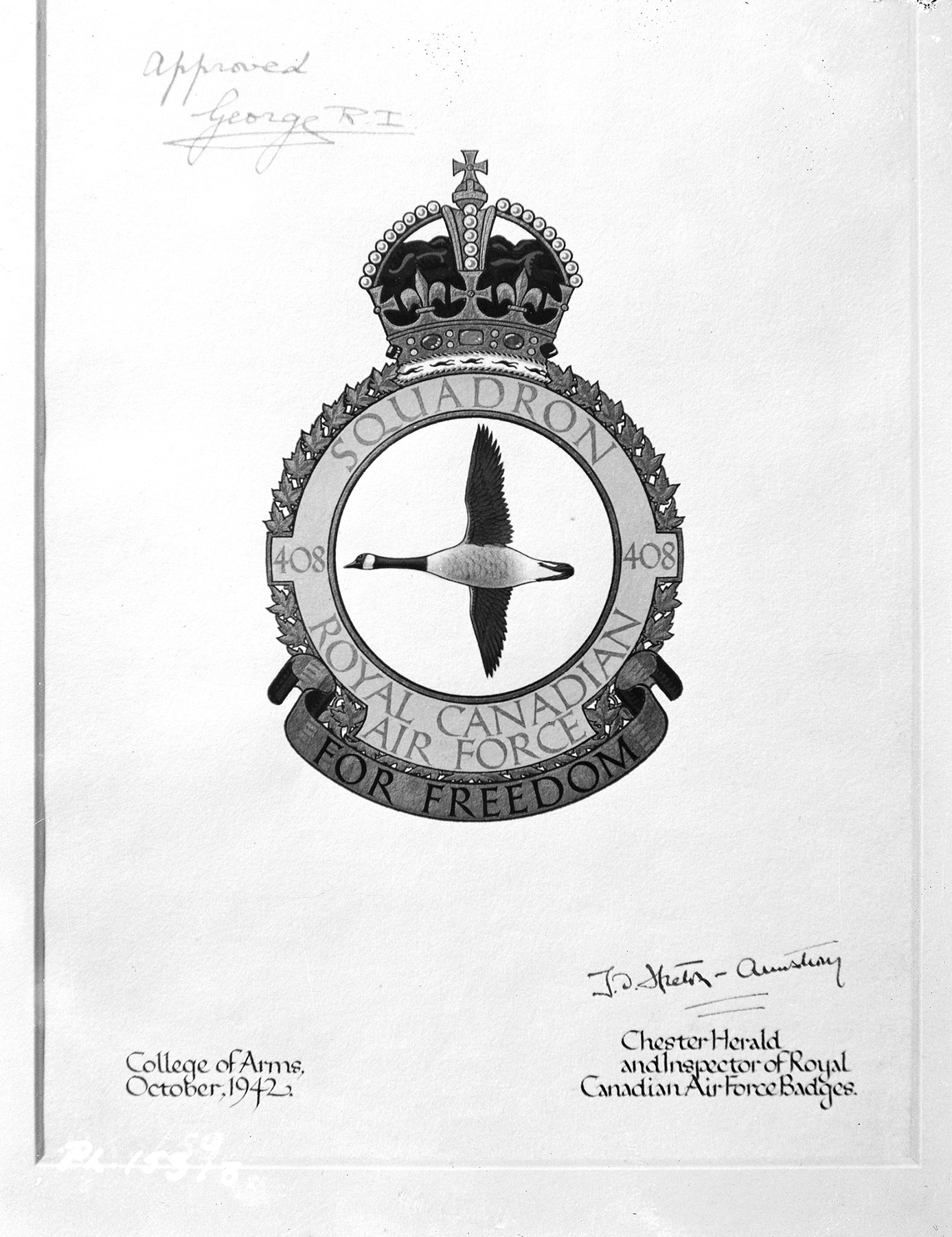 An image, taken January 14, 1943, of the signed official announcement of the new 408 Bomber Squadron RCAF Overseas badge. PHOTO: DND Archives