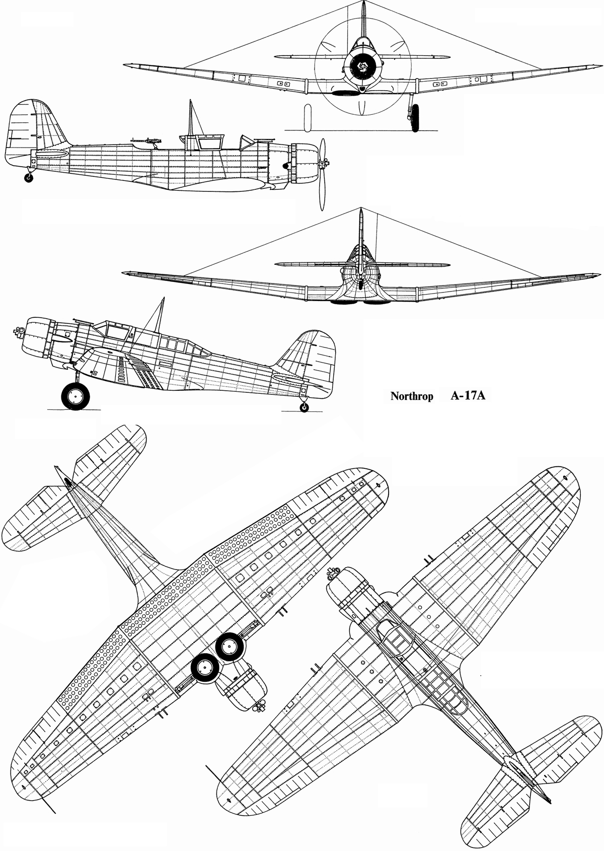 Six Northrop Aircraft Corp. drawings of a Nomad A-17A aircraft. IMAGE: Northrop Aircraft Corporation