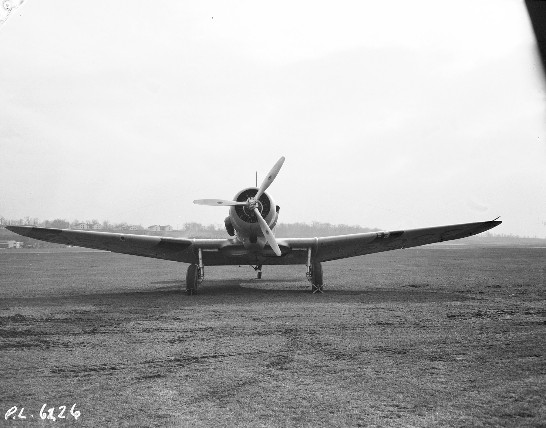 A front view of Northrop Nomad aircraft No. 3508, taken November 20, 1941. PHOTO: PL-6226, DND Archives