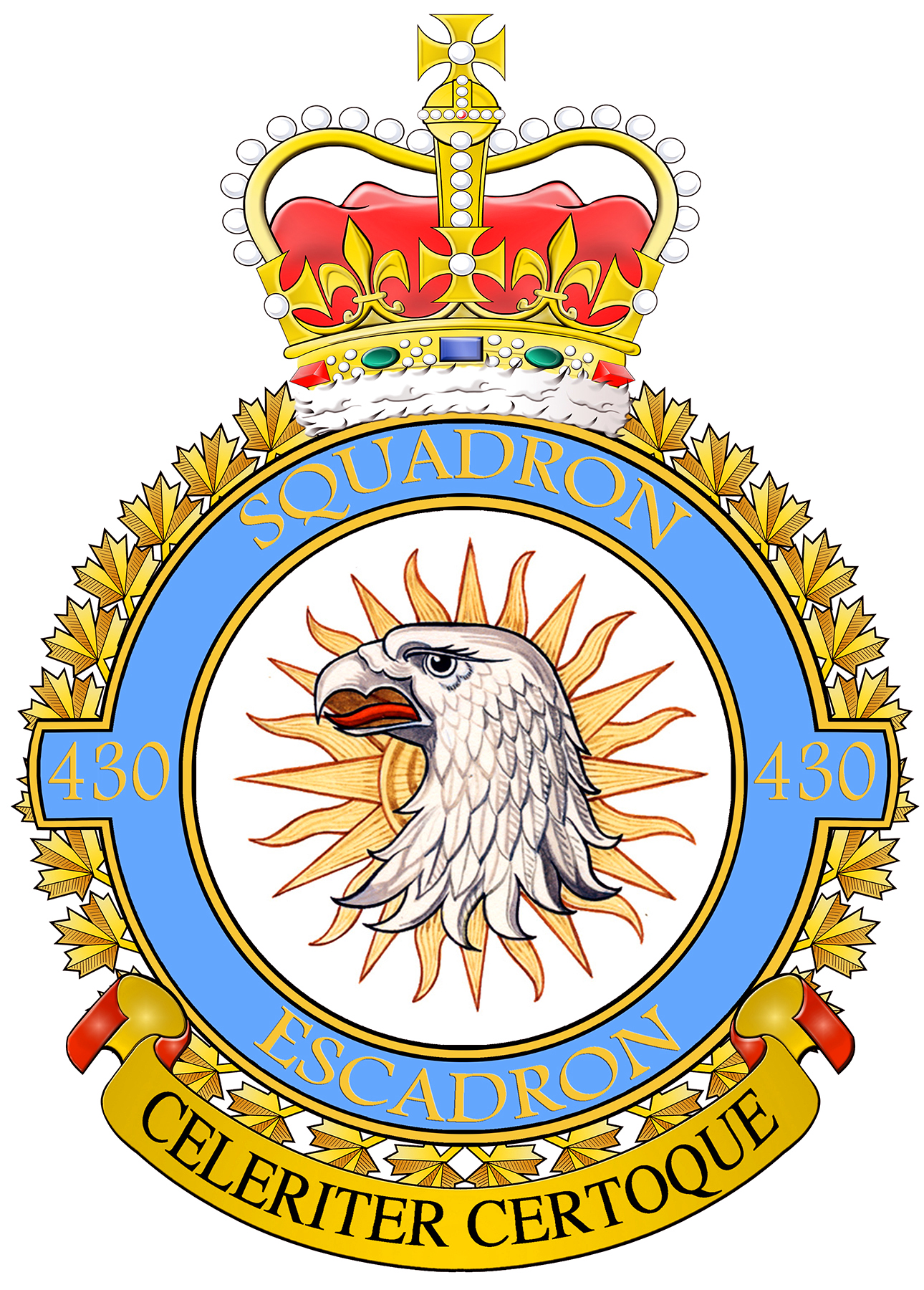 "430 Tactical Helicopter Squadron's modern badge depicts a gyrfalcon, known for its exceptional and alert fighting ability. The sun behind the gyrfalcon represents the squadron's original role of fighter reconnaissance and the bringing of light, or information, to the troops. The squadron's Latin motto, Celeriter certoque, means ""swifty and surely"". IMAGE: DND"