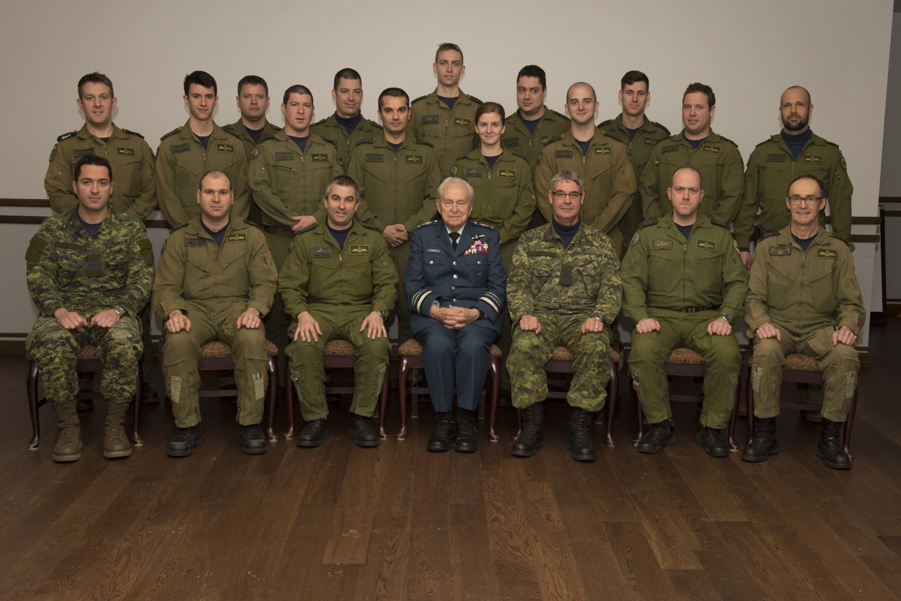 Members of 430 Tactical Helicopter Squadron had a unique opportunity to meet the last surviving Second World War pilot of 430 Squadron. Honorary Lieutenant-General Richard Rohmer (92 years) completed 135 operational missions during the war, flying the P-51 Mustang. An RCAF legend still alive and well... PHOTO: 430 Squadron