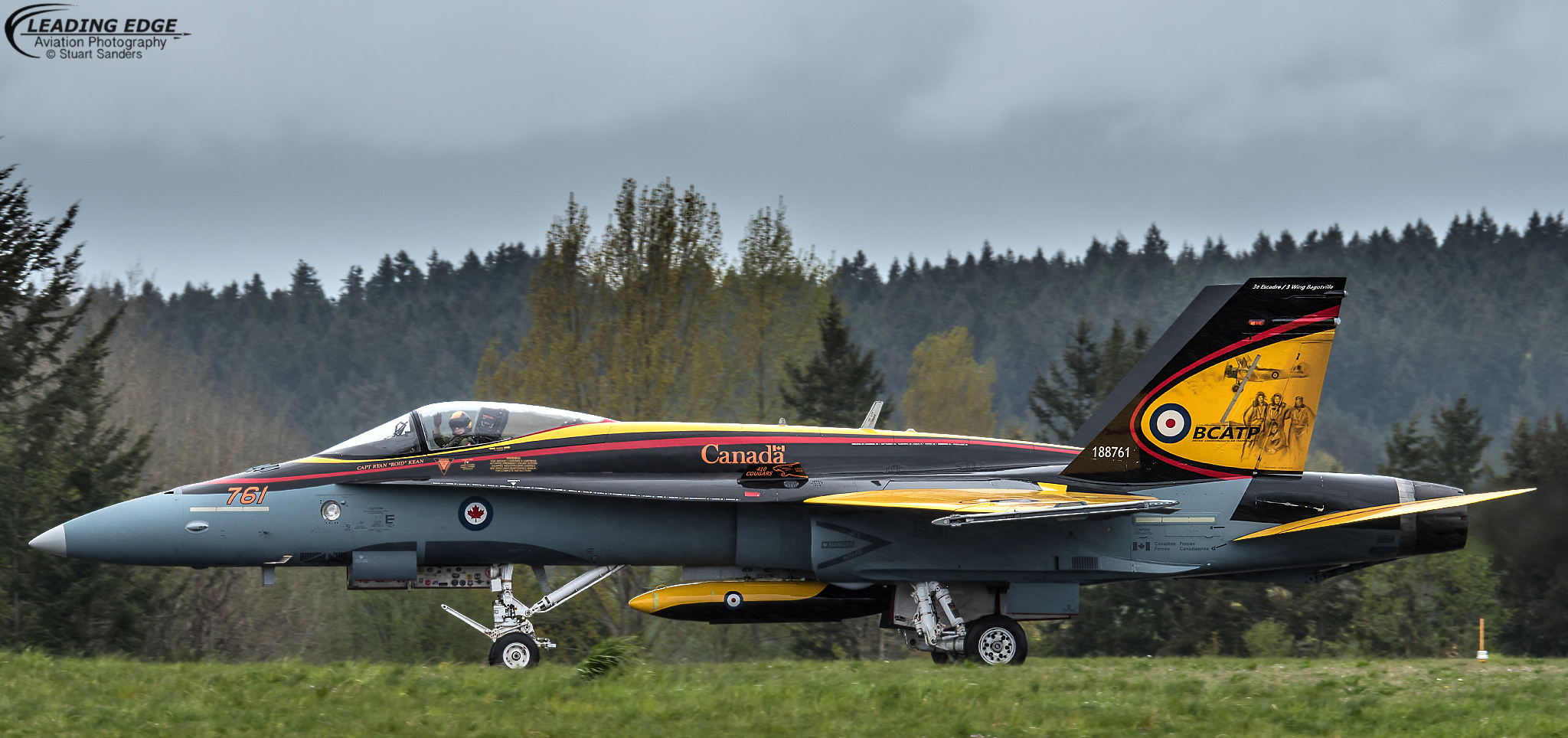 The Demo Hornet took arrived in Comox, British Columbia, on April 12, 2016 to begin spring training in preparation for the 2016 show season. The Hornet is painted in colours that recall the yellow training aircraft used during the British Commonwealth Air Training Plan, which ran from December 1939 to March 1945. It was one of the greatest air training programs ever conducted and a key enabler of Allied victory over Nazi aggression. PHOTO: © Stuart Sanders, Leading Edge Aviation Photography. Used with permission