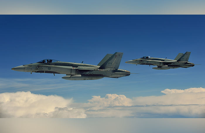slide - Two CF-188 Hornets in flight