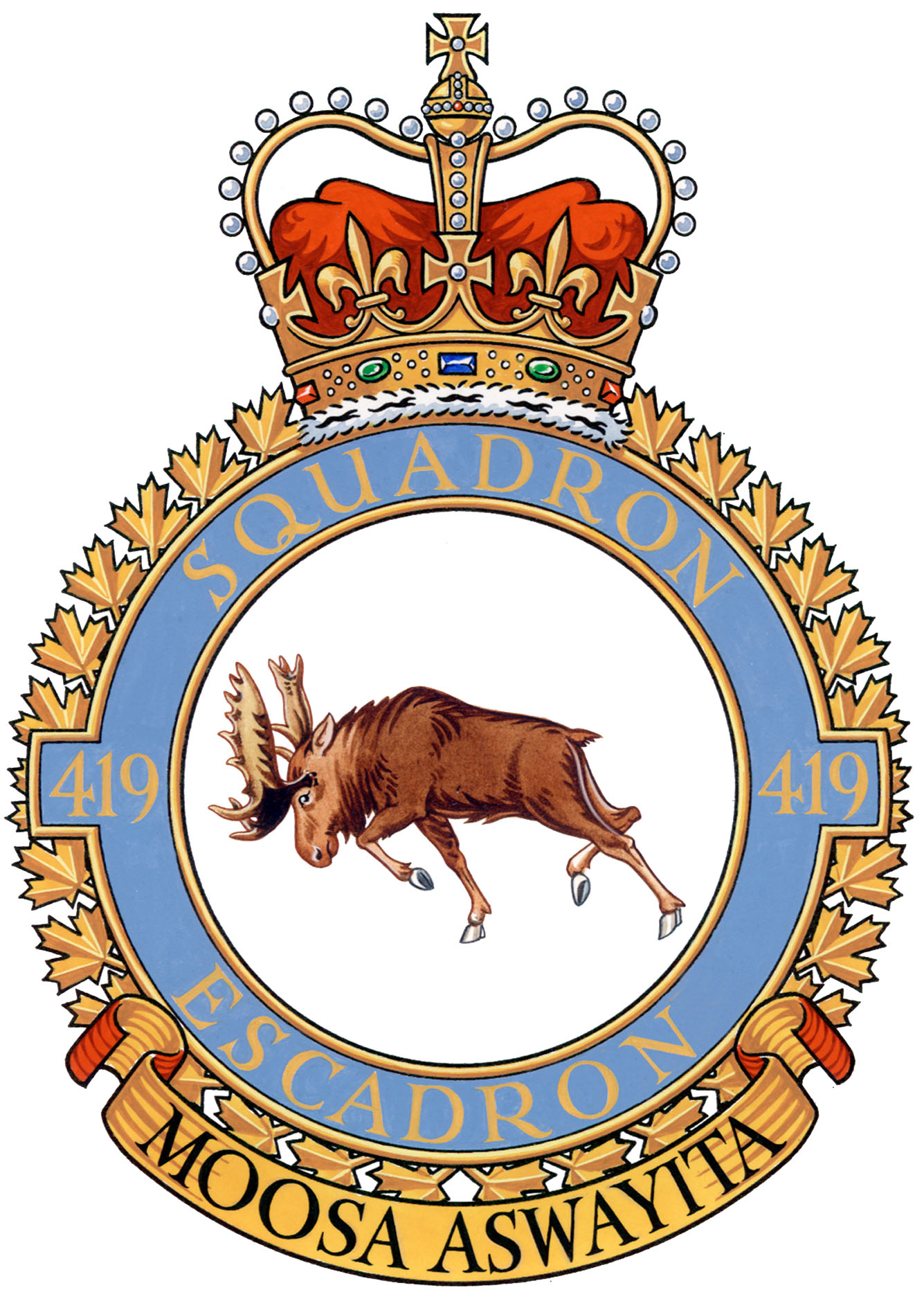 "The badge of 419 Tactical Fighter Training Squadron. The moose, representing the squadron's nickname, is a fierce fighter indigenous to Canada. The motto, in Cree, means ""Beware of the Moose"".  IMAGE: DND"