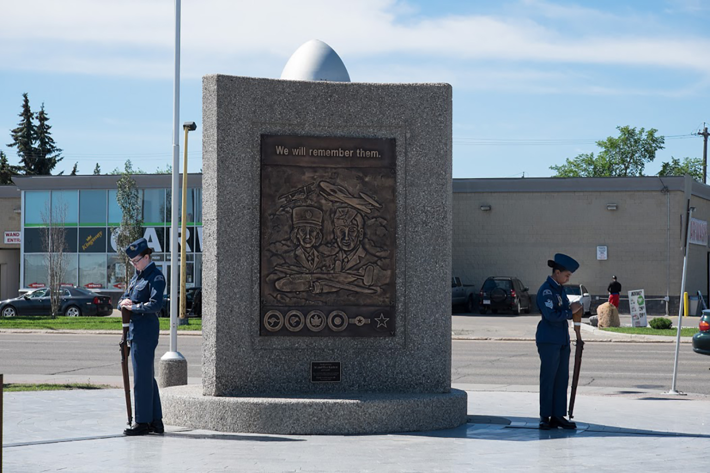fb34a3a61d ... Air cadets stand sentry at the Aviation Memorial at Edmonton s Alberta  Aviation Museum on June 18 ...