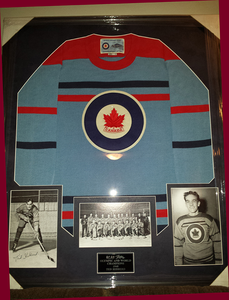 The vintage 1948 RCAF Flyers hockey jersey given to team member Ted Hibberd on the occasion of his 90th birthday. PHOTO: Courtesy of Tim Schofield