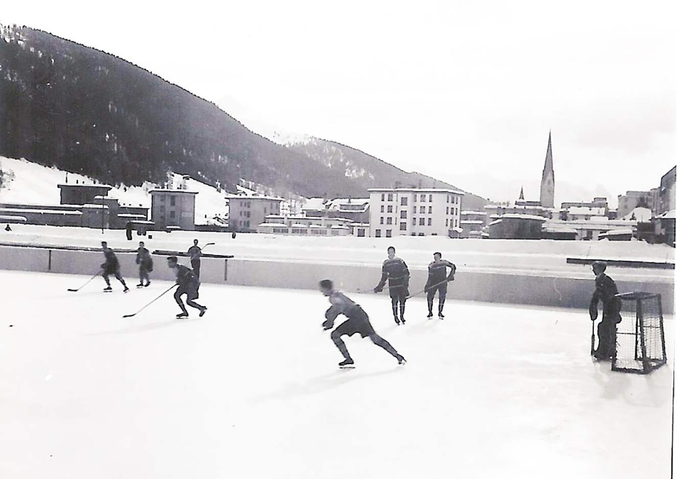 On January 29, 1948, the RCAF Flyers hold their final practice before the Olympic Winter Games in St. Moritz, Switzerland. PHOTO: Courtesy of the estate of Flyers member Reg Schroeter, via his son, Tom.*