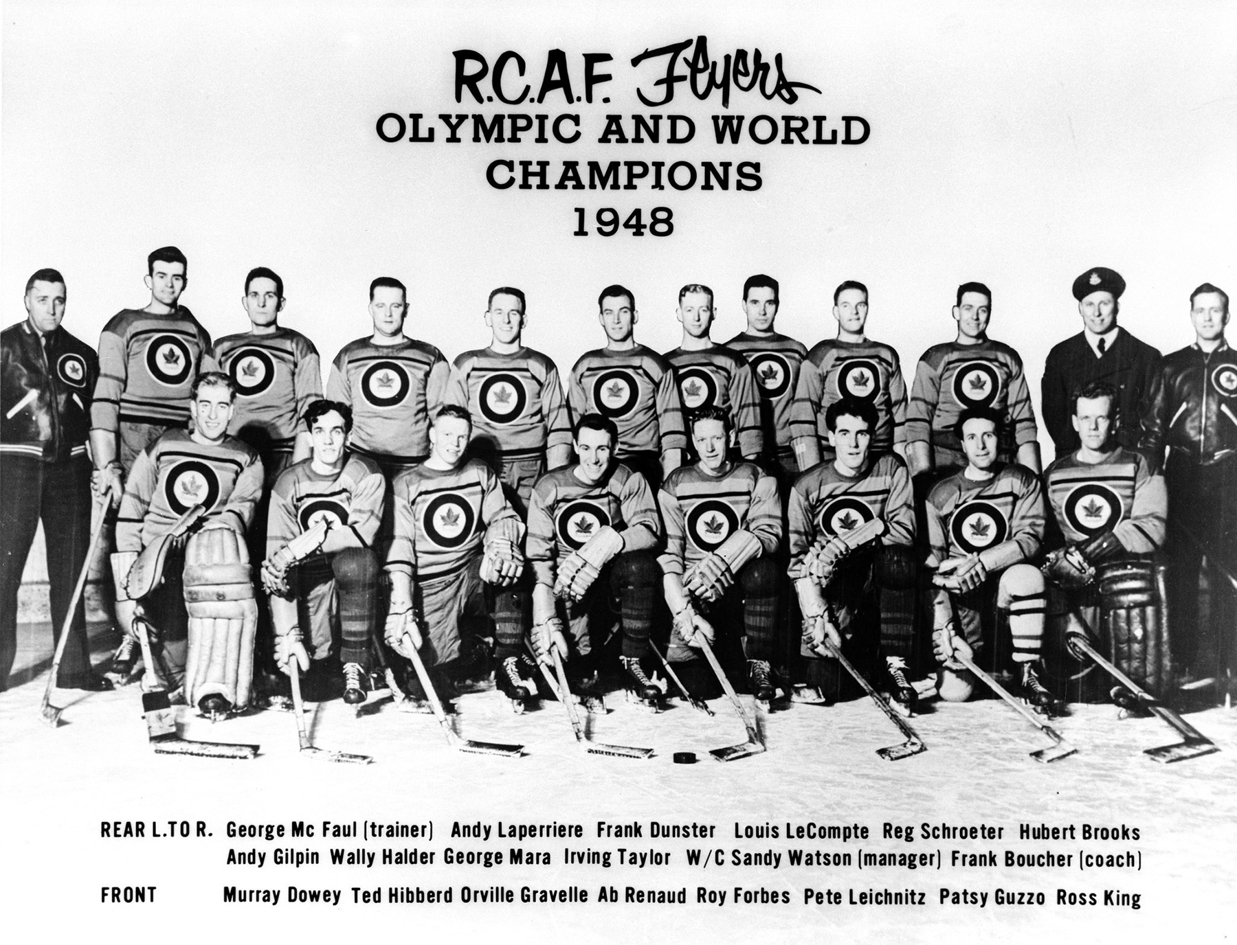 The 1948 Olympic champion RCAF Flyers hockey team members are, front, from left: Murray Dowey, Ted Hibberd, Orville Gravelle, Ab Renaud, Roy Forbes, Pete Leichnitz, Patsy Guzzo and Ross King; and back, from left: George McFaul (trainer), Andy Laperriere, Frank Dunster, Louis LeCompte, Reg Schroeter, Hubert Brooks, Andy Gilpin, Wally Halder, George Mara, Irving Taylor, Sandy Watson (manager) and Frank Boucher (coach). PHOTO: DND Archives, PMR-93-353