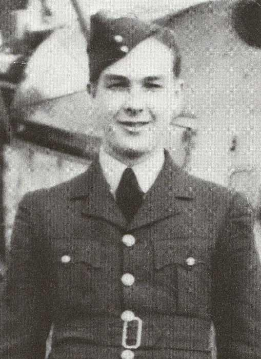 "A black and white photo of a Second World War air force officer in dress uniform, wearing a ""wedge cap""."
