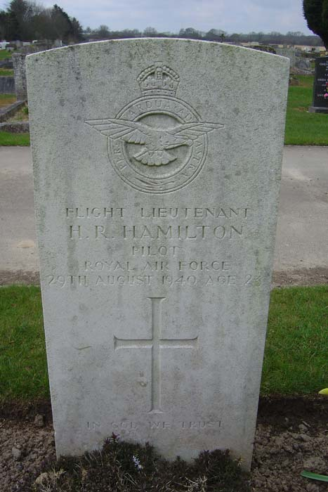 The grave of Flight Lieutenant Harry Raymond Hamilton is located in New Cemetery in Folkestone, England. PHOTO: Courtesy of the Battle of Britain Memorial