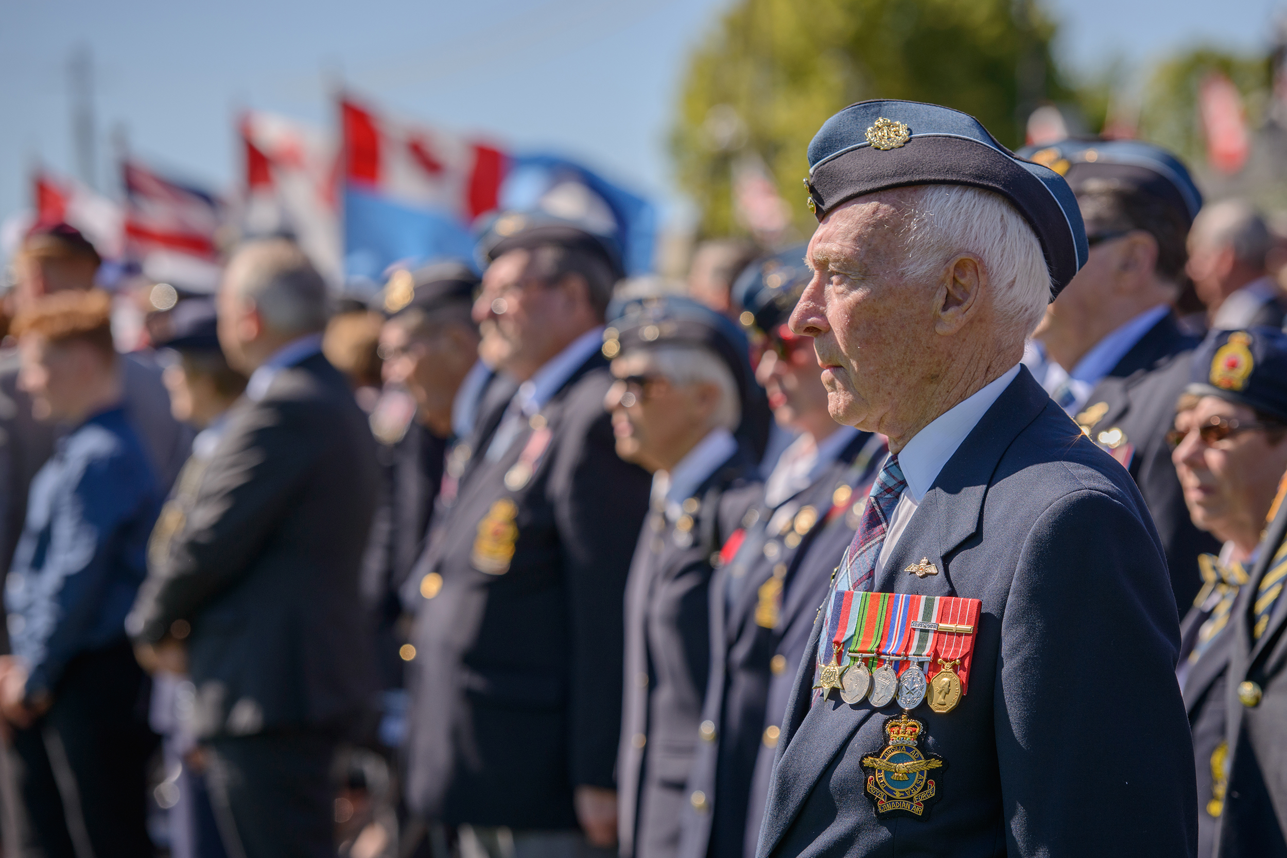 Royal Canadian Air Force veterans stand during the national ceremony held at Parliament Hill on September 20, 2015, to mark the 75th anniversary of the Battle of Britain. In the foreground is Squadron Leader (retired) Desmond Peters who was the commander of the veterans' contingent. PHOTO: Master Corporal Daniel Merrell, SU03-2015-0736-104