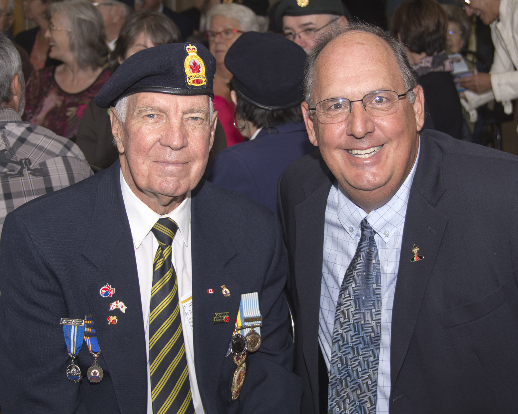 Martin Abud (right) joins Korean War Veteran William Pearce shortly before the ceremony marking the 75th anniversary of No. 9 Bombing and Gunnery School in Mont-Joli, Québec, on August 22, 2016. For Mr. Abud, a former aviation (engines) technician (1974-77) with 425 Tactical Fighter Squadron, the ceremony was the proud culmination of countless volunteer hours of planning and coordination. PHOTO: Jean-Pierre Bonin