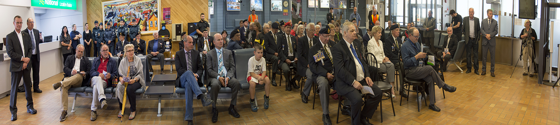 Canadian Armed Forces veterans and members, Air cadets, local dignitaries, family members, and guests gather at Mont-Joli, Québec, Regional Airport for the August 22, 2016, ceremony commemorating No. 9 Bombing and Gunnery School and the British Commonwealth Air Training Plan. PHOTO: Jean-Pierre Bonin