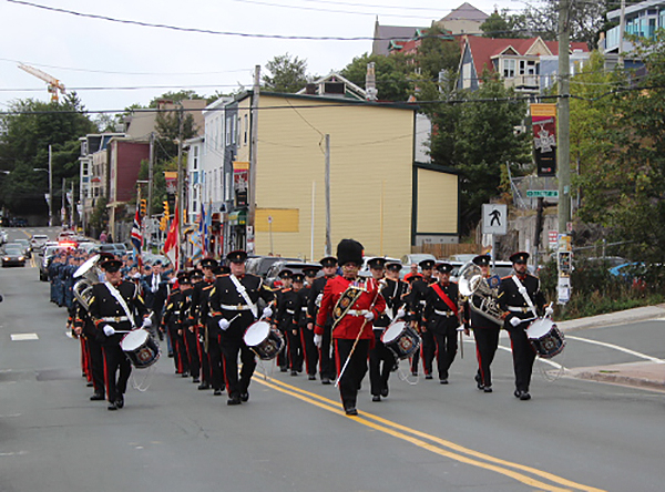 On September 18, 2016, the Church Lads Brigade Band leads the RCAF Reserve Flight Torbay Battle of Britain ceremony parade through the Streets of St. John's, Newfoundland and Labrador. PHOTO: Sergeant Sandra Keiley