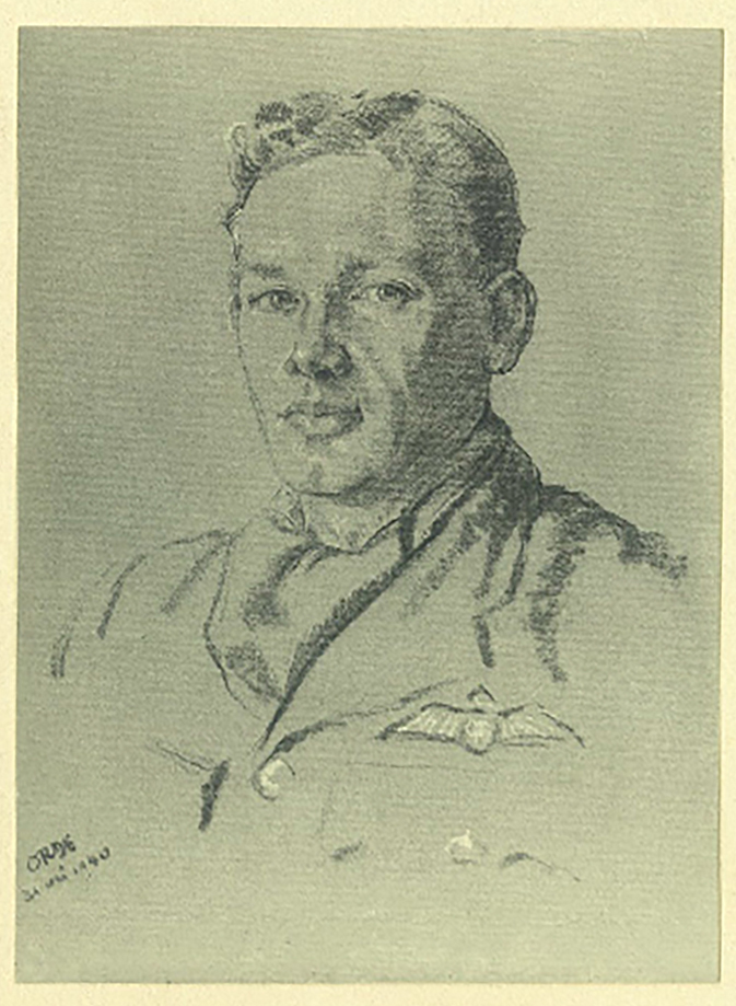 An undated pencil sketch of Flying Officer John Stewart Hart in his Royal Air Force uniform. IMAGE: Courtesy of John Hart