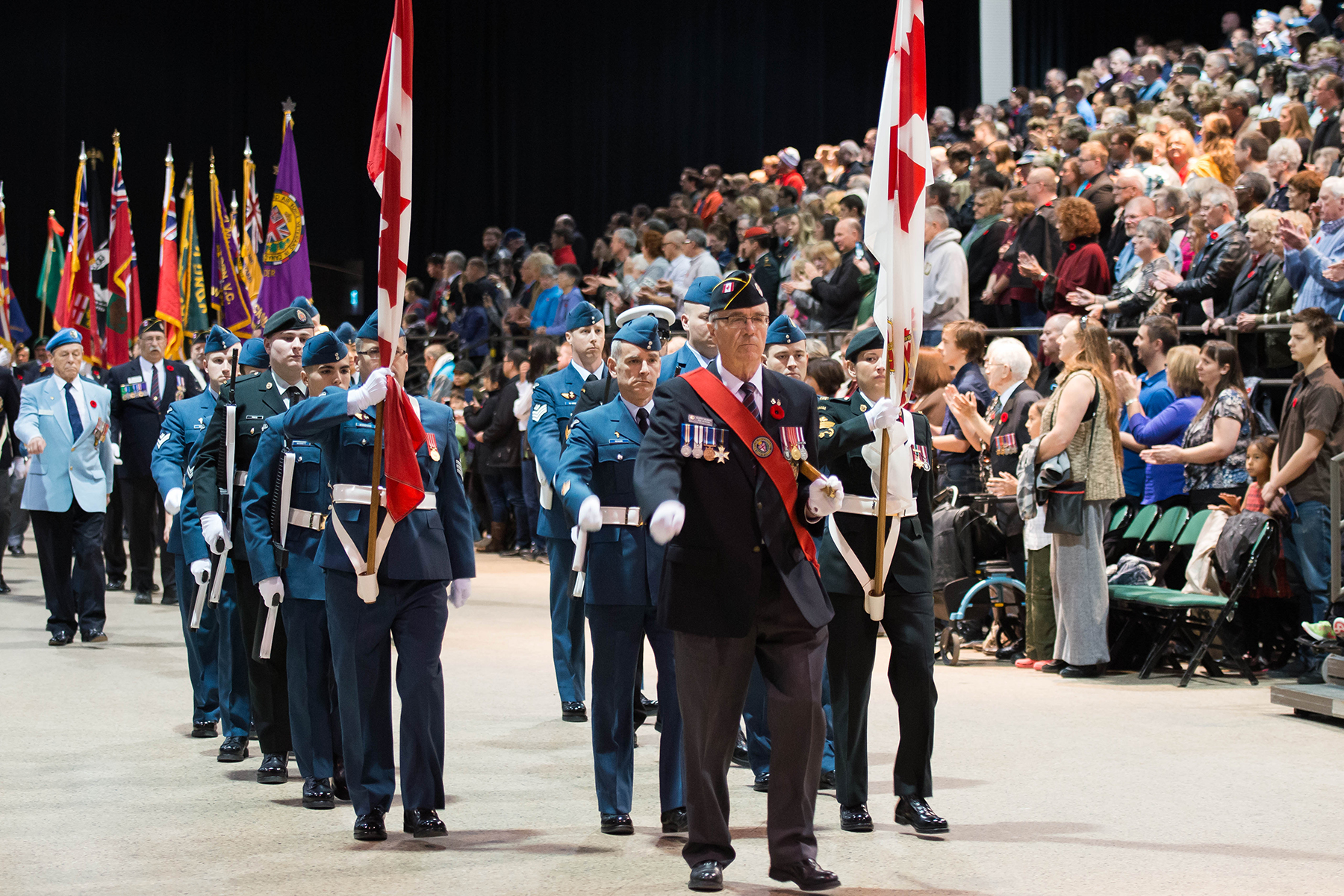 The 17 Wing Winnipeg colour party marches on during the Joint Veterans' Association Remembrance Day Service held on November 11, 2016, at the RBC Convention Centre in Winnipeg, Manitoba. The service commemorated the 100th anniversary of the Battle of the Somme. PHOTO: Sergeant Daren Kraus