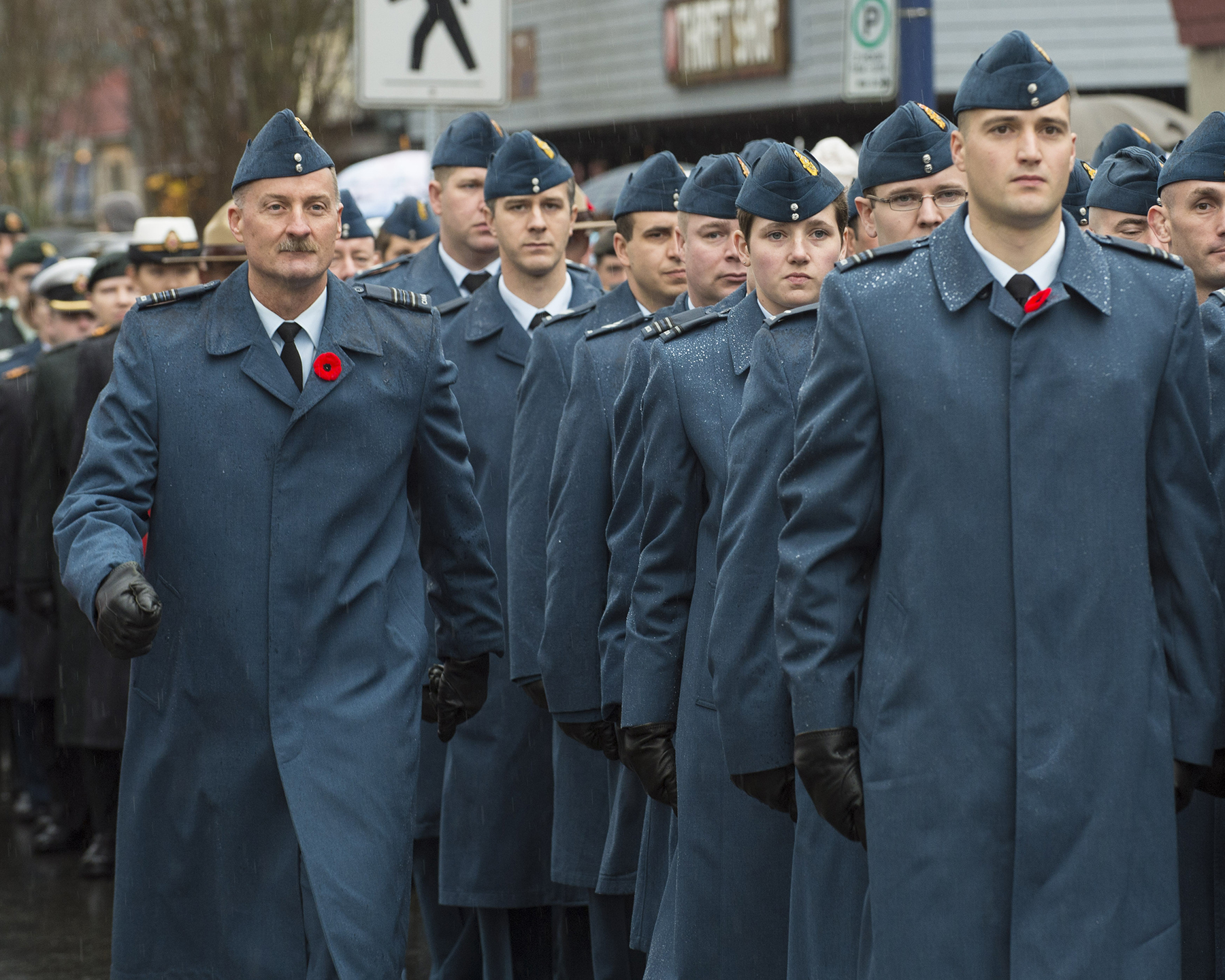 Members of 19 Wing Comox's 442 Transport and Rescue Squadron prepare to march past the reviewing stand during the November 11, 2016, Remembrance Day ceremony held in Comox, British Columbia. PHOTO: Master Seaman Roxanne Wood