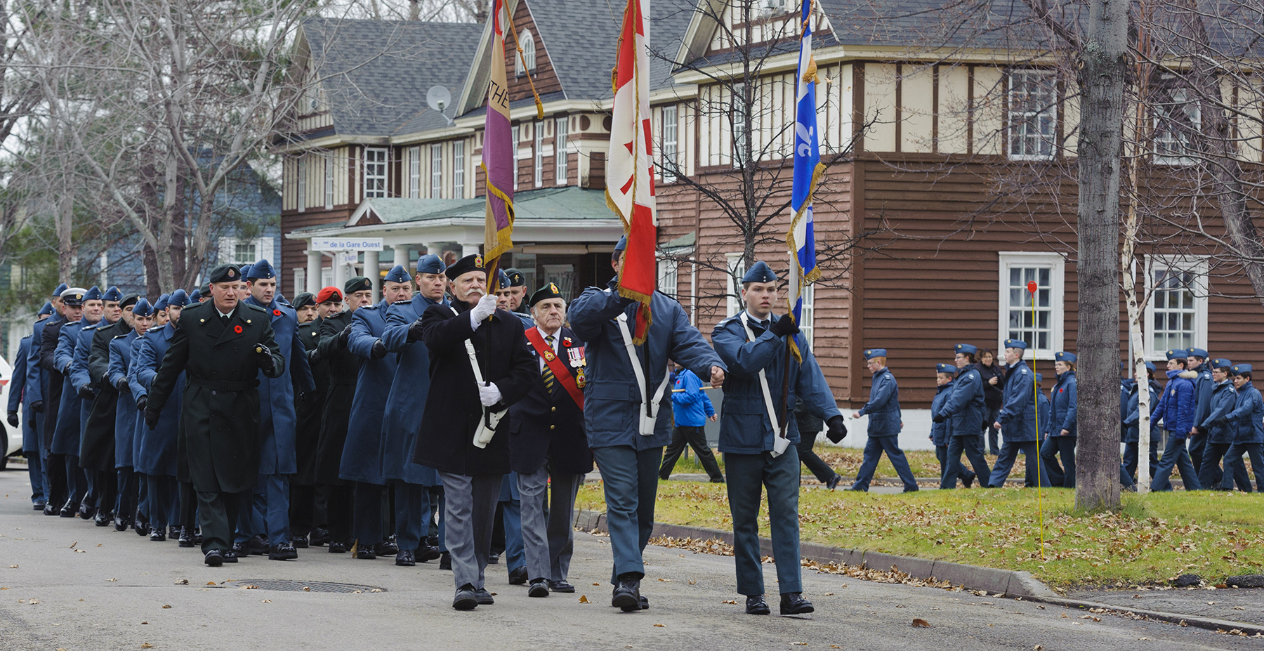 Military personnel from 2 Air Expeditionary Wing, Canadian Forces Base Bagotville, parade during the Remembrance Day ceremony in Alma, Québec, on November 11, 2016. PHOTO: Corporal Karine Chalifour