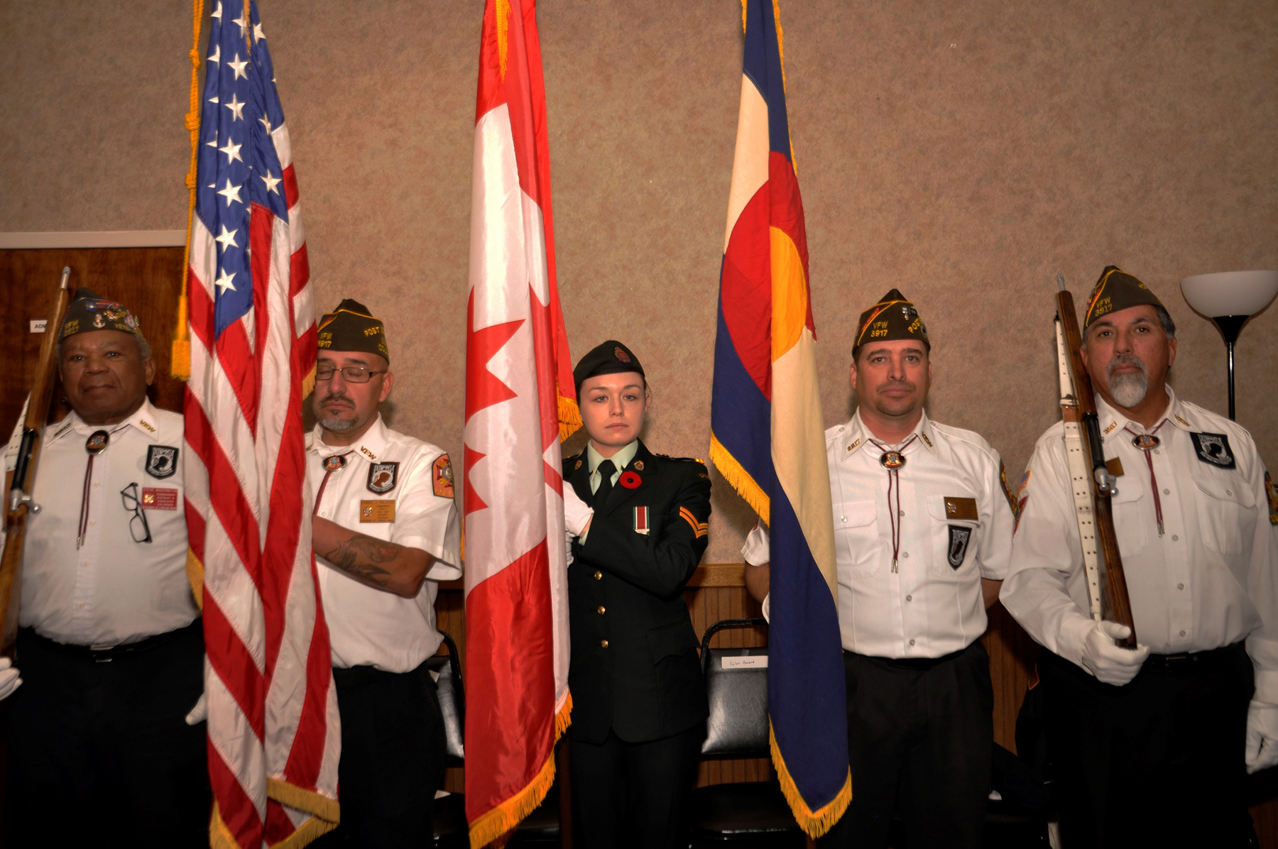 In Colorado Springs, Colorado, the North American Aerospace Defense Command (NORAD) colour party participates in the combined Remembrance Day and Veterans Day C\ceremony held on November 11, 2016. NORAD is the bi-national Canadian and American command that provides maritime warning, aerospace warning and aerospace control for Canada and the United States. PHOTO: Master Corporal Lois Gouthro