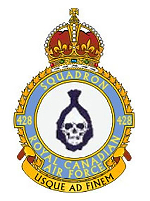 "The original 428 ""Ghost"" Squadron badge with the King's Crown representing King George VI, the reigning monarch of Great Britain during the Second World War. IMAGE: DND"