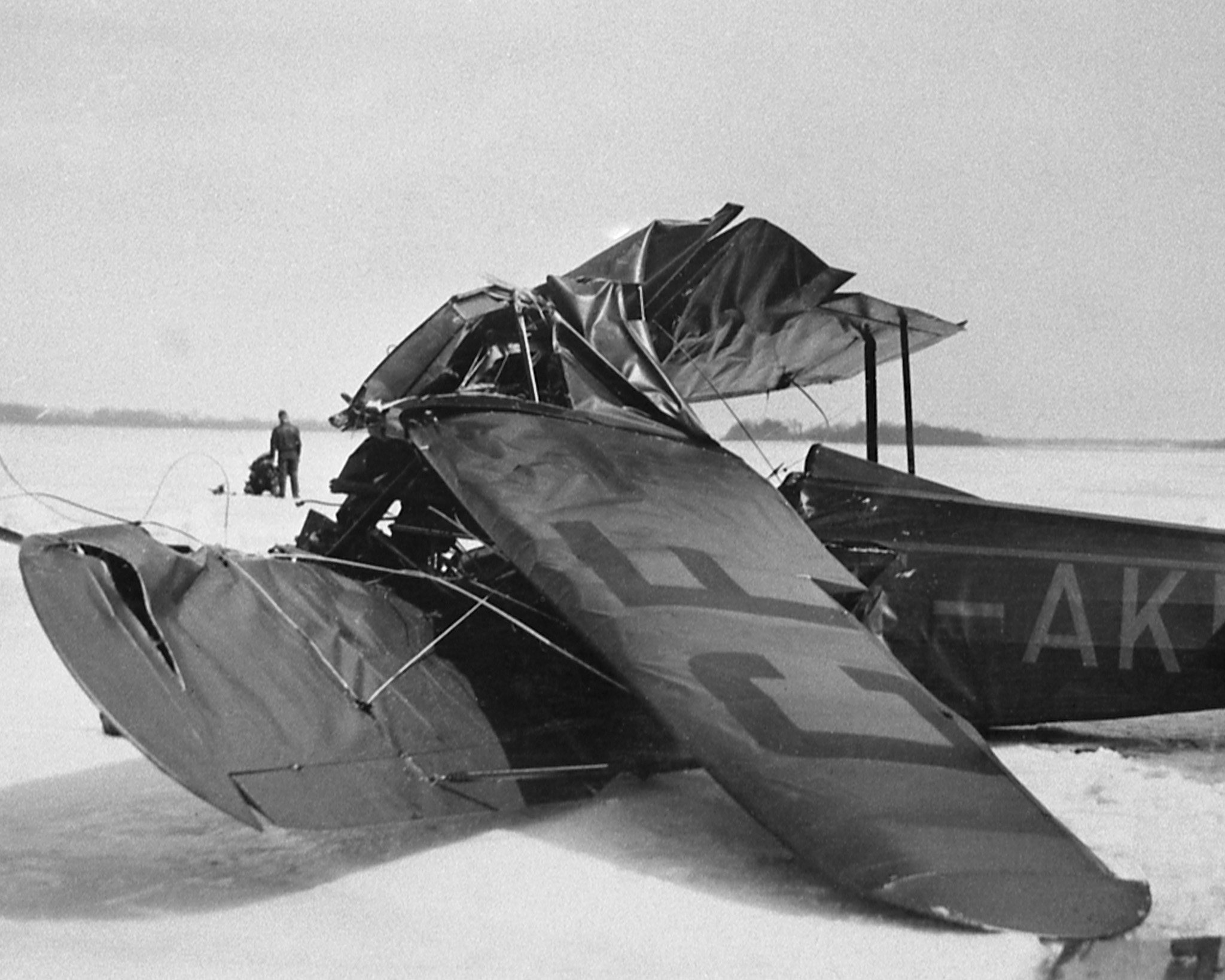 The wreckage of Fairchild KR-21, CF-AKR, on the ice of the Ottawa River on March 12, 1930. Wing Commander (retired) William Barker died in the crash. PHOTO: DND Archives, RE74-165