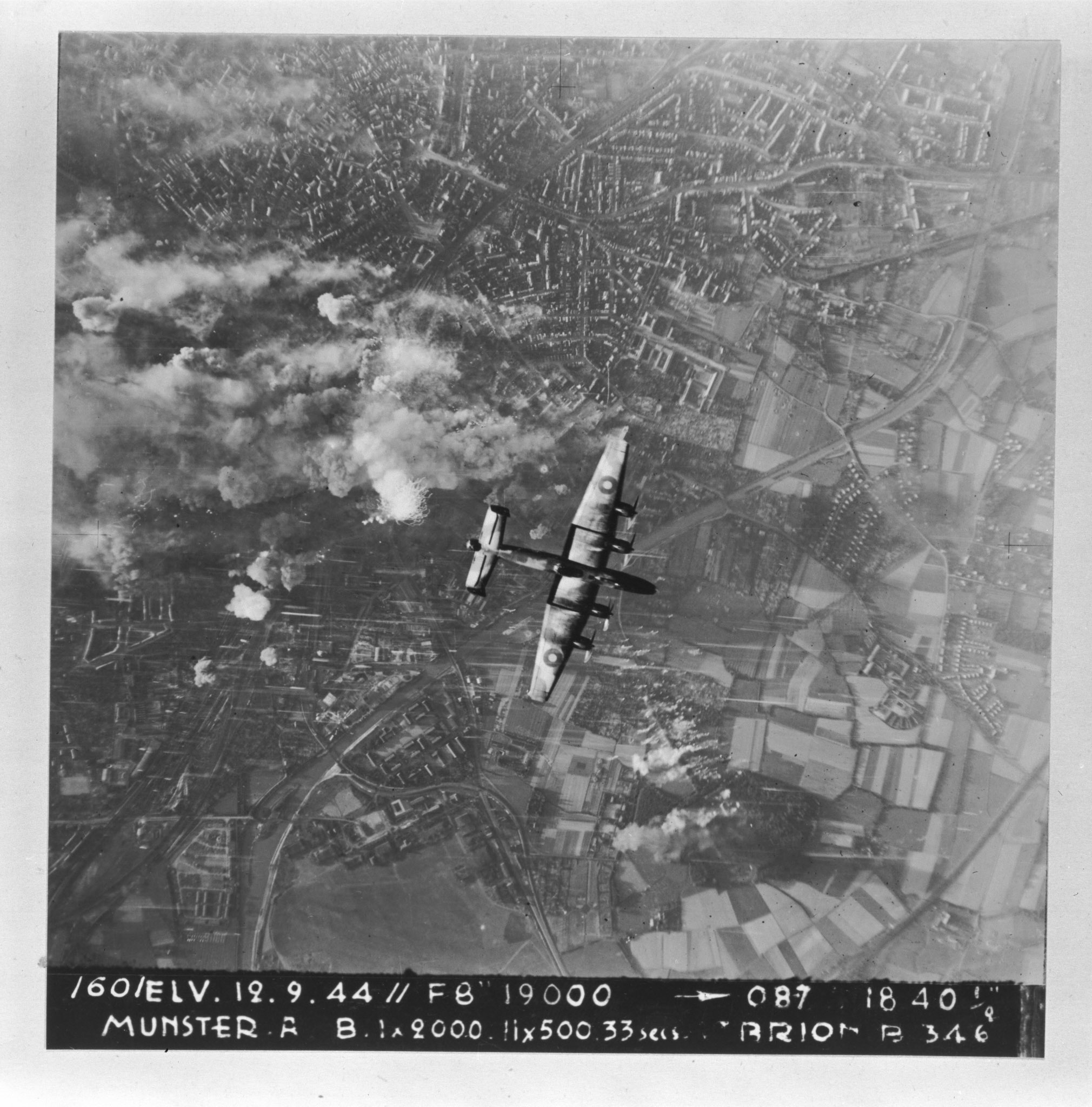 An RCAF Lancaster bombs Münster, in North Rhine-Westphalia, Germany, on September 19, 1944. PHOTO: DND Archives, PL-144277