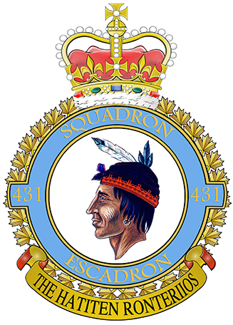 "431 (Air Demonstration) Squadron's badge displays a profile of an Iroquois warrior and the squadron motto, THE HATITEN RONTERIIOS, meaning ""Warriors of the Air"". During the Second World War, 431 Squadron formed at Burn near Selby, England, on November 11, 1942. It was a bomber unit with No. 4 Group, flying Wellingtons. After being stationed briefly at Tholthorpe, where the squadron was outfitted with the Halifax bomber, 431 was transferred to Croft in December 1943. The squadron remained in Croft for the duration of the war, and was eventually equipped with Lancaster bombers. Over the course of the war, 431 Squadron completed more than 3,000 operations across the European Theatre. IMAGE: DND; TEXT: http://www.bombercommandmuseum.ca"