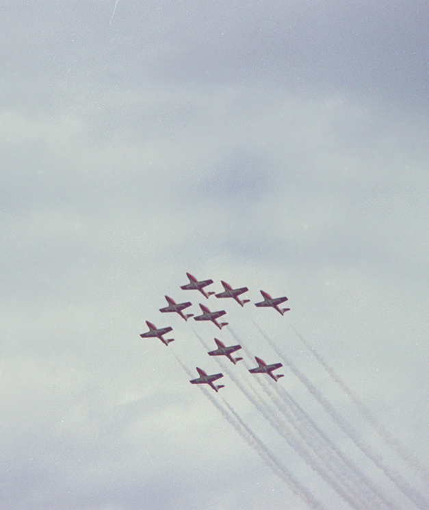A 1977 ground-to-air photograph of the Snowbirds aerobatic team flying in formation. PHOTO: