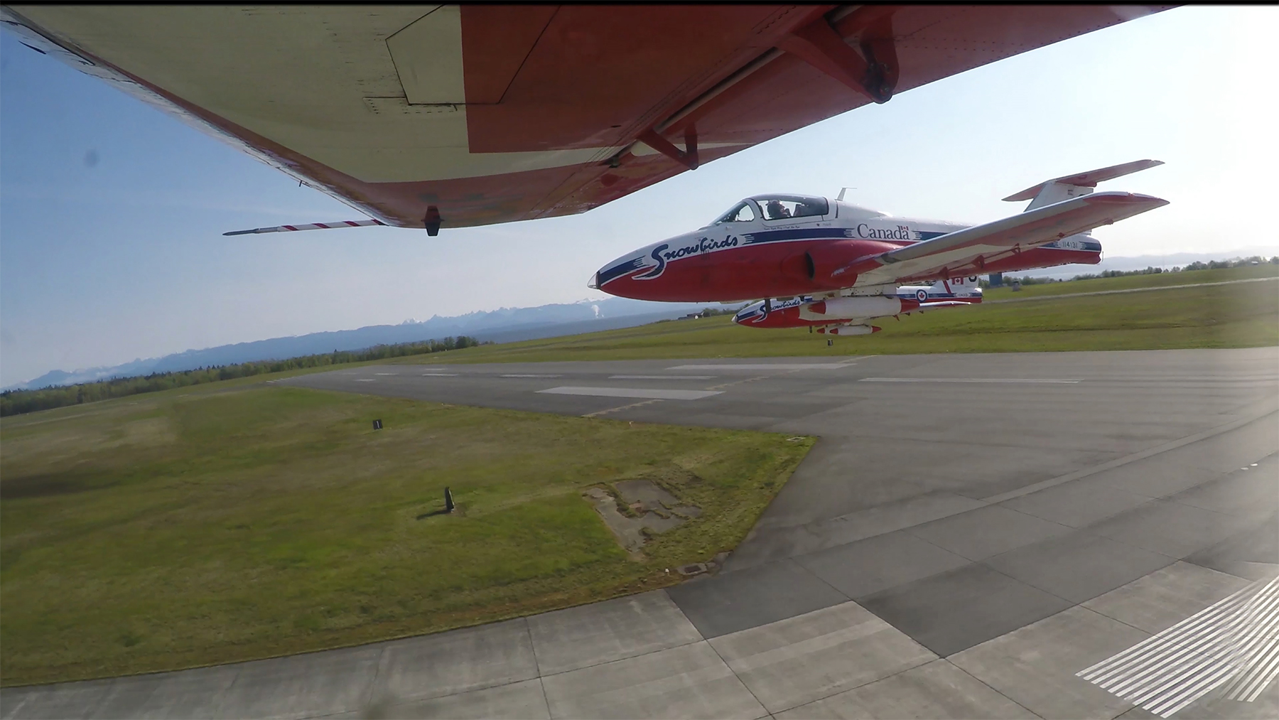 In April 2015, the TankCam records a Snowbird off the starboard wing of the Team Lead's CT-114 Tutor jet aircraft. PHOTO: Snowbirds TankCam