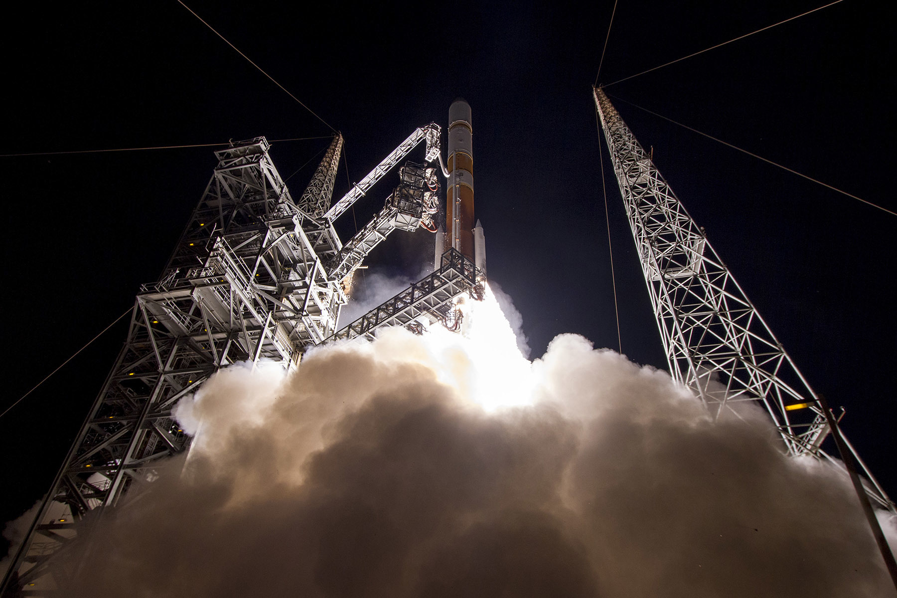 A Delta IV Rocket lifts off from Cape Canaveral, Florida on March 18, 2017, carrying the ninth Wideband Global Satellite Communication (WGS-9) satellite into orbit. The WGS-9 will aid in meeting the Canadian Armed Forces' strategic satellite communications requirements for many years into the future. PHOTO: © United Launch Alliance
