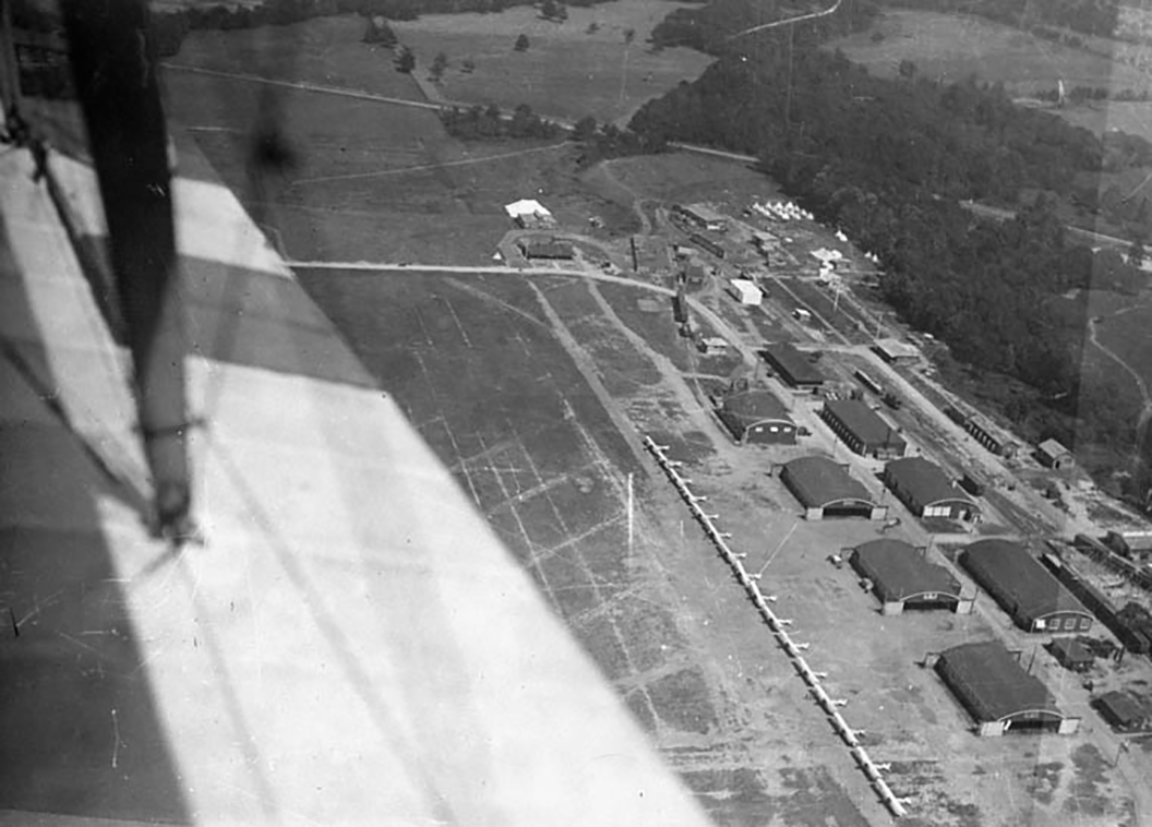 "An aerial view of Camp Leaside's facilities, near Toronto, Ontario, taken in 1918 from a Curtiss JN-4 ""Canuck"" biplane. Unlike the cookie-cutter layout of the British Commonwealth Air Training Plan airfields that sprang up throughout Canada during the Second World War, the Royal Flying Corps Canada camps established during the First World War were fitted to the land available. PHOTO: LAC MIKAN 3404224"