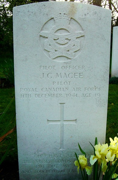 John Gillespie Magee's grave marker. PHOTO: Nick Fraser via Wikipedia (Creative Commons)