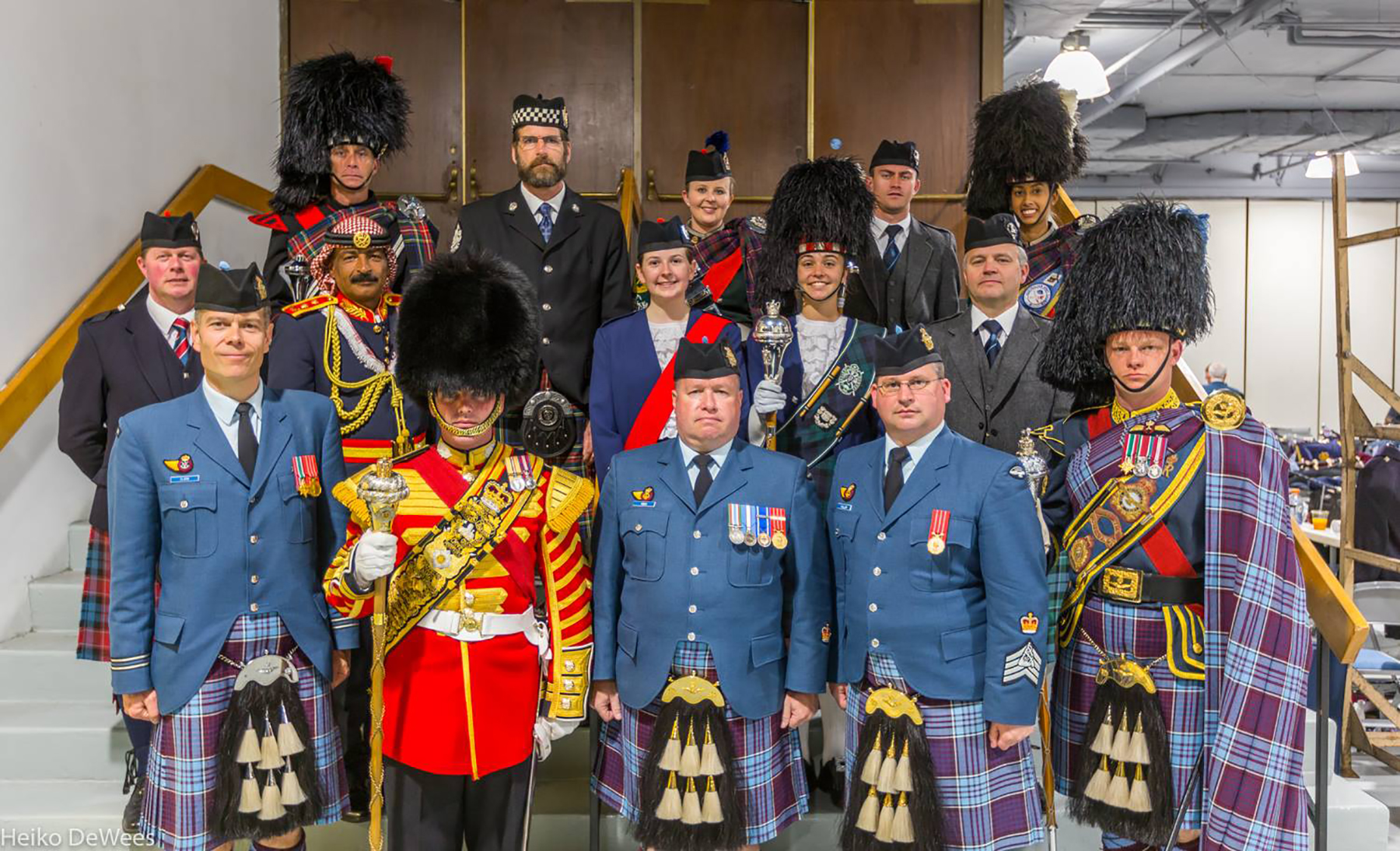 Pipes and drums leaders gather for a photo at the 2016 Virginia International Tattoo, fronted by the Royal Canadian Air Force's Captain Fraser Clark (left), Tattoo Pipe Major; Warrant Officer Joe Kiah (centre), Tattoo Leading Drummer; Warrant Officer Scott Pollon, Pipes and Drums sound engineer; and Master Corporal Ian Cleaton, 8 Wing Drum Major. PHOTO: Heiko DeWees