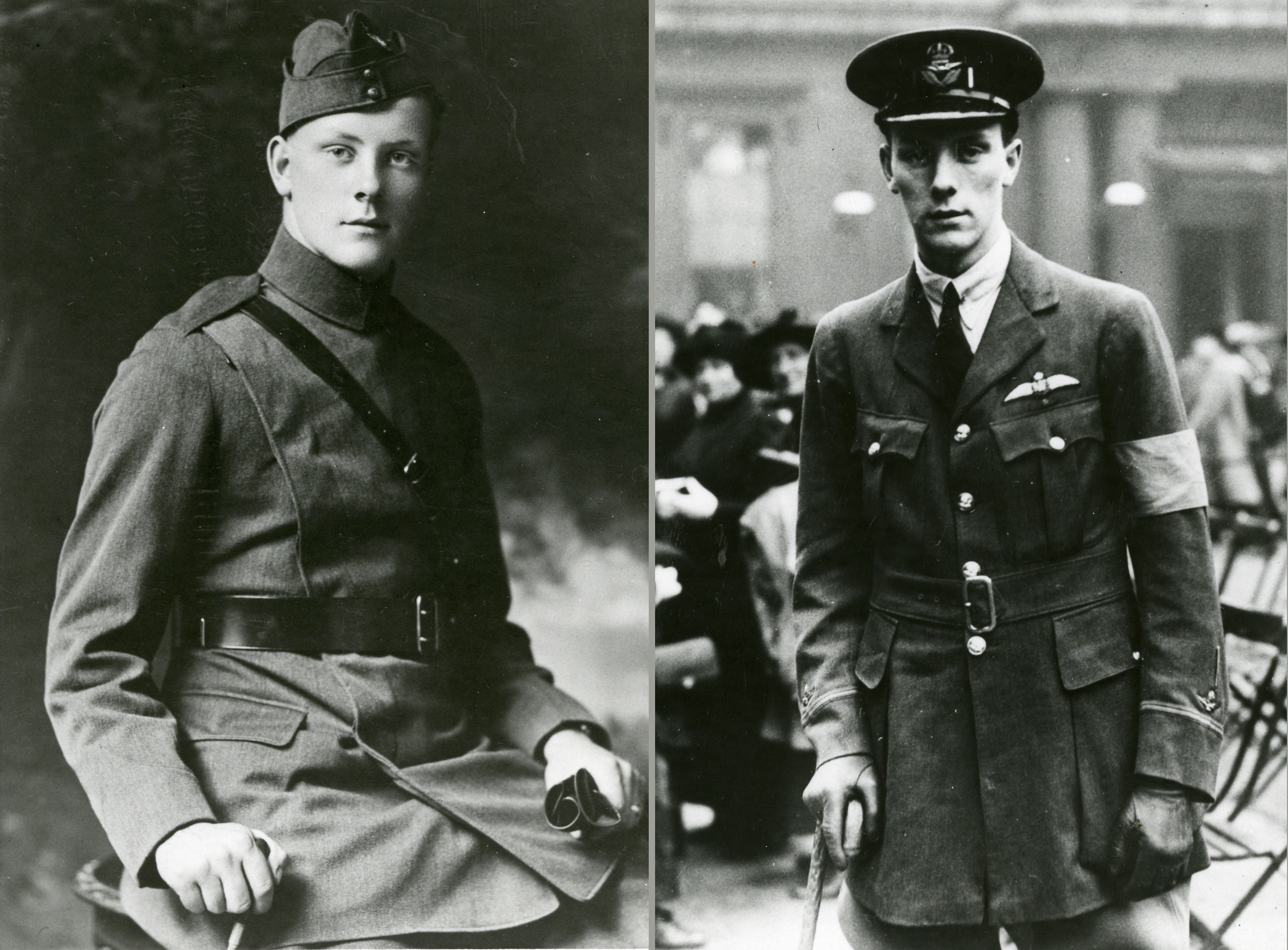 A montage of two black and white, First World War-era photos of the same young man.