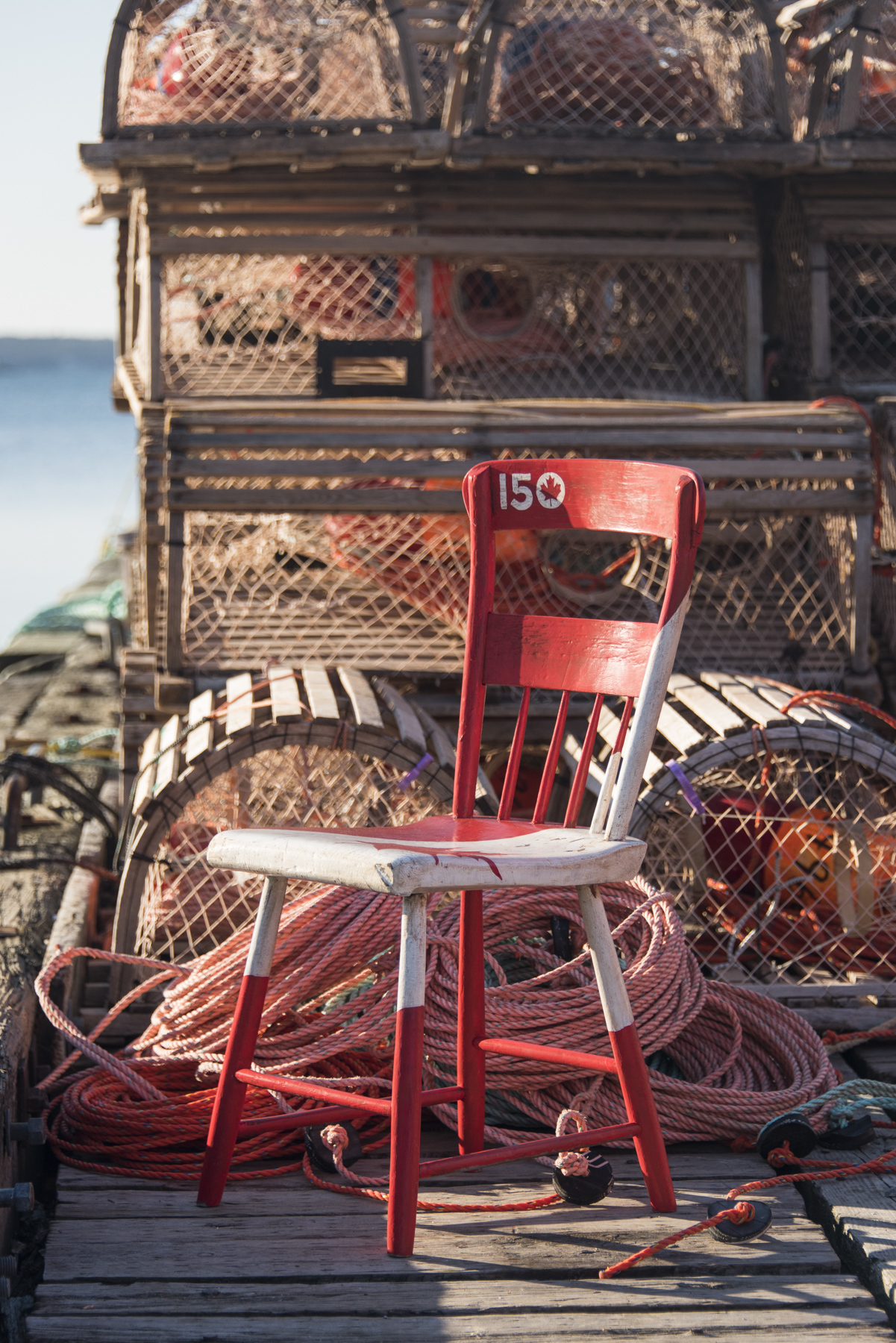 "The Kings County Museum's ""Canada 150 Chair"" was photographed in Lunenburg, Nova Scotia, by an imagery technician from 14 Wing Greenwood, Nova Scotia. PHOTO: Corporal Neil Clarkson"