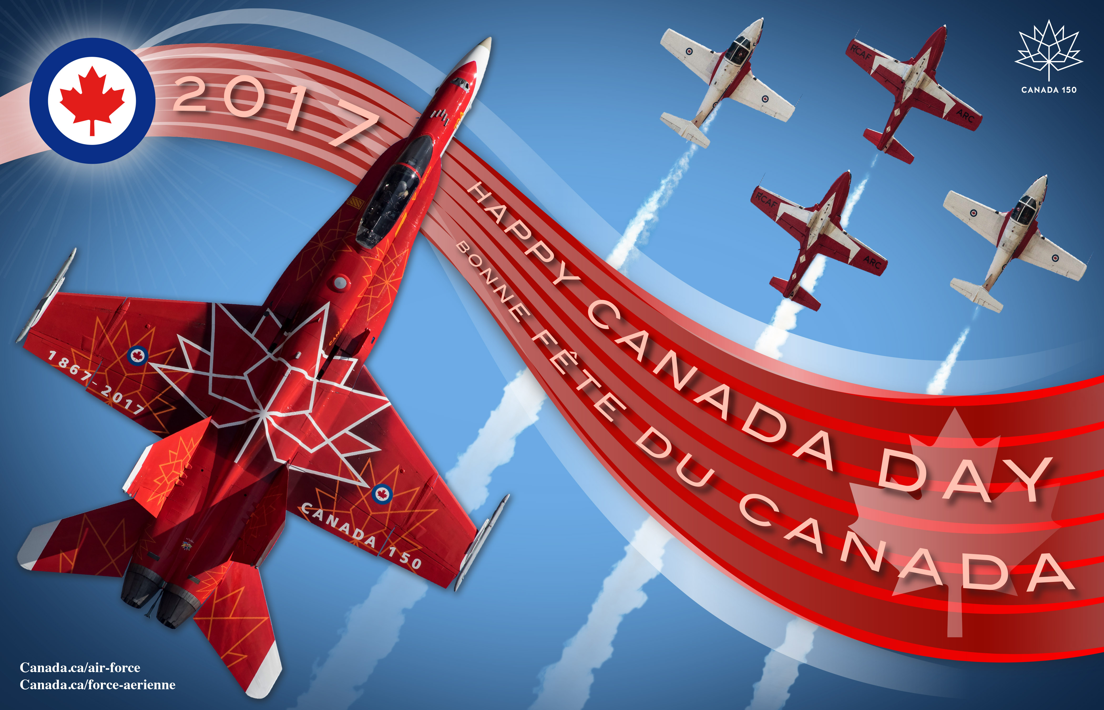 "An image that includes a red banner with the words ""2017 Happy Canada Day"", a photo of a CF-188 Hornet painted red and white, a photo of four red and white Tutor aircraft and the RCAF roundel, all on a blue background."
