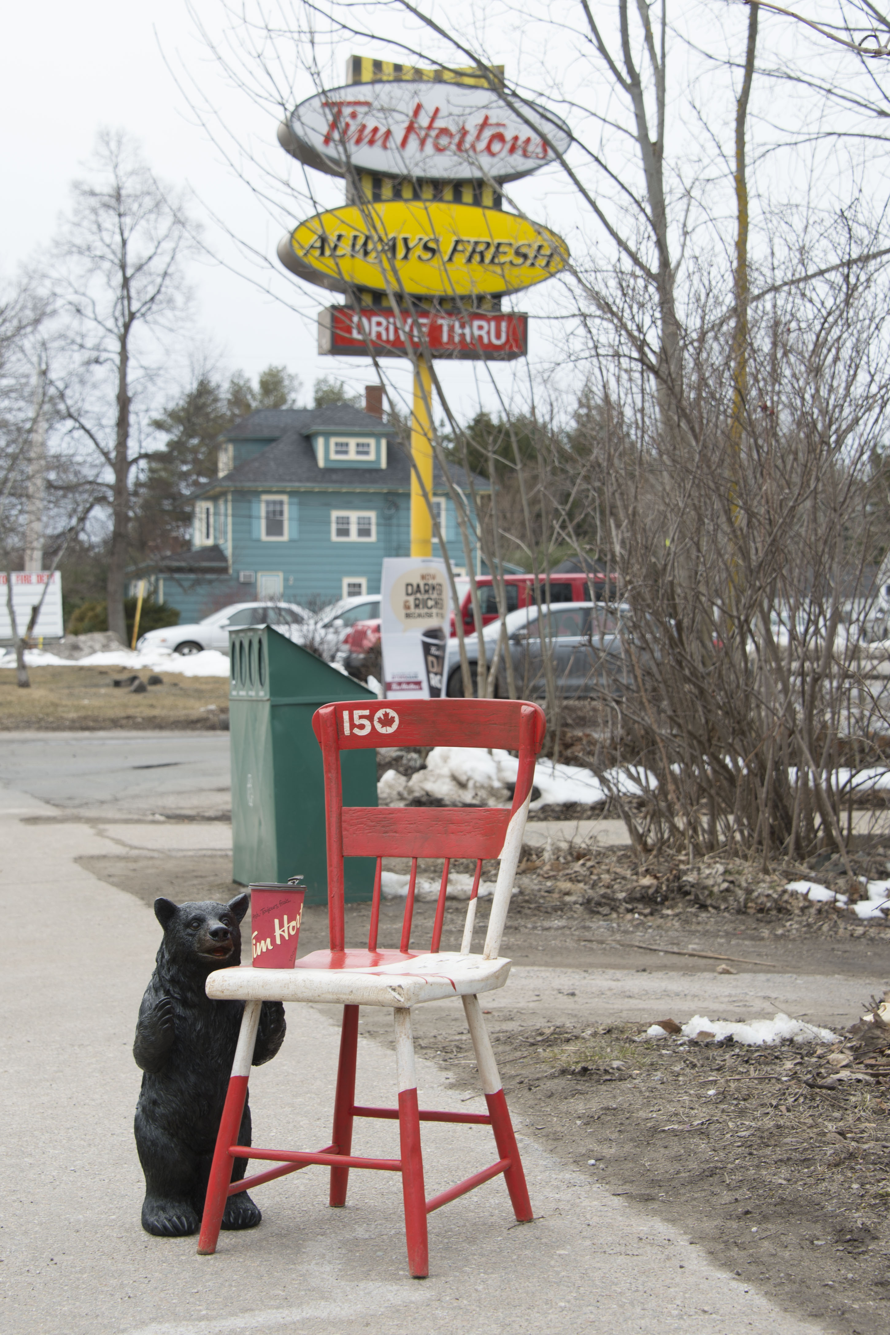 "The Kings County Museum's ""Canada 150 Chair"" was photographed at a Tim Horton's in Middleton, Nova Scotia, by an imagery technician from 14 Wing Greenwood, Nova Scotia,. PHOTO: Leading Seaman Cass Moon"