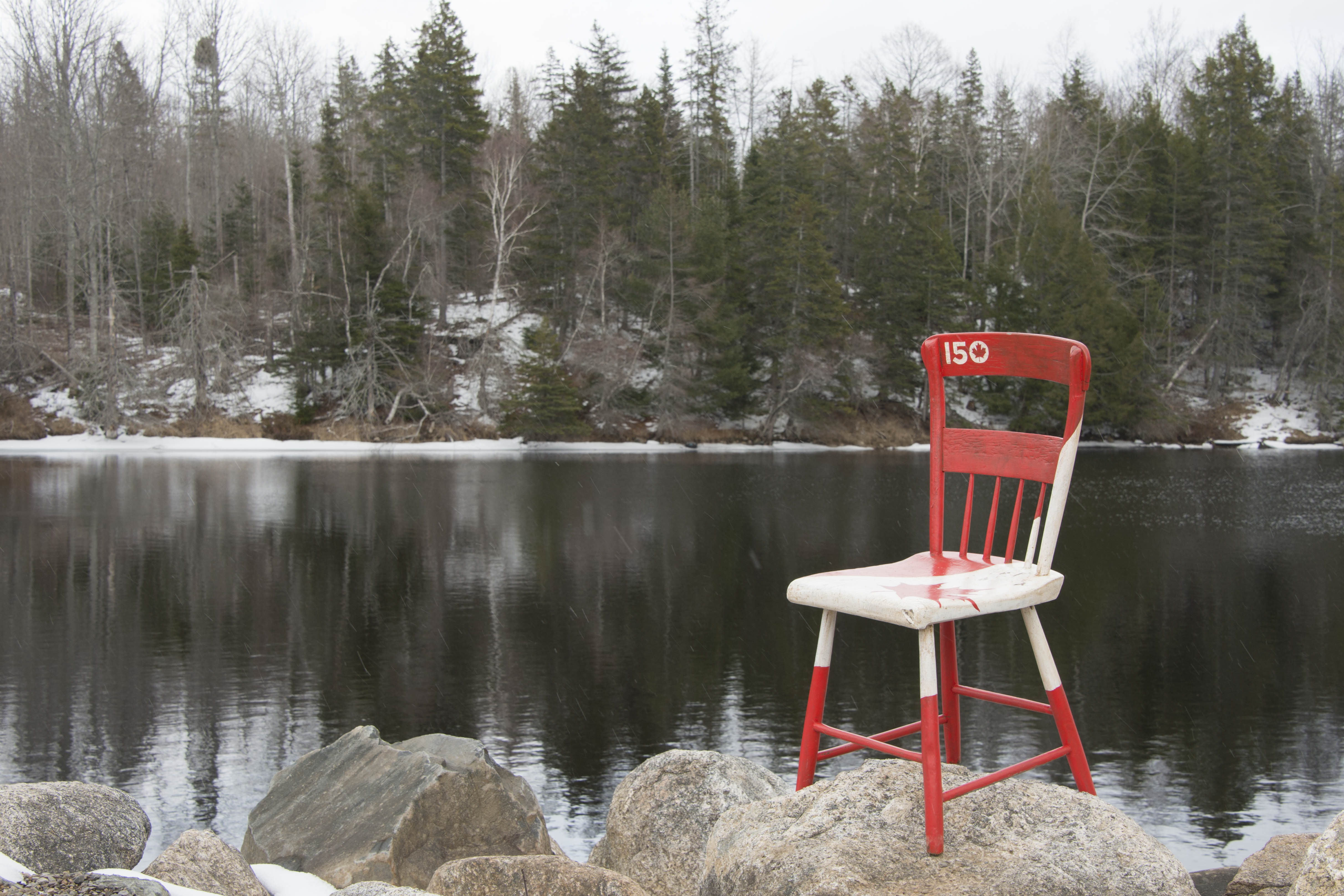 "The Kings County Museum's ""Canada 150 Chair"" was photographed in an iconic Canadian setting by an imagery technician from 14 Wing Greenwood, Nova Scotia,. PHOTO: Leading Seaman Cass Moon"