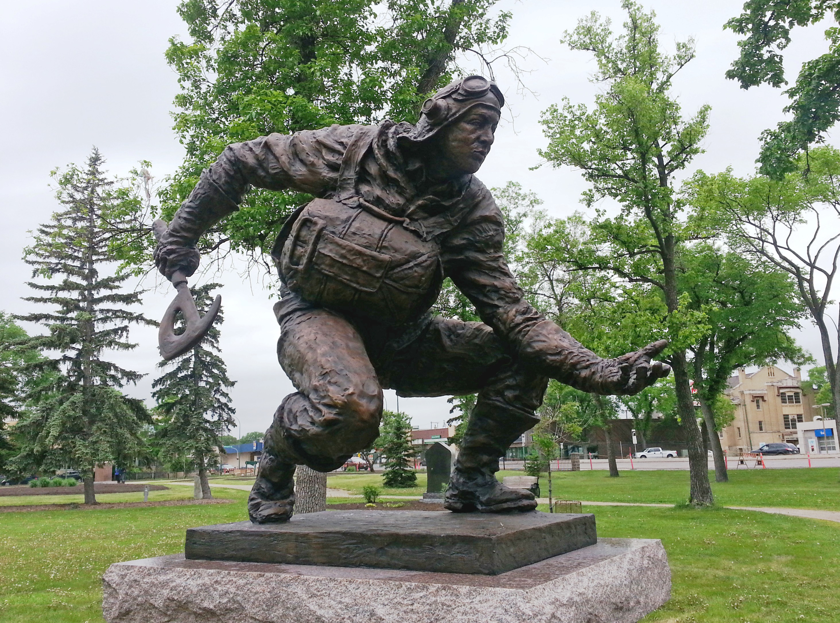 A statue commemorating Pilot Officer Andrew Mynarski, recipient of the Victoria Cross, was unveiled on June 12, 2015, in his hometown of Winnipeg. The statue portrays Pilot Officer Andrew Mynarski, fire axe in hand, in the act of trying to free his friend and fellow crew member, Flying Officer Pat Brophy, from the rear gun turret where he was trapped. PHOTO: David Elias