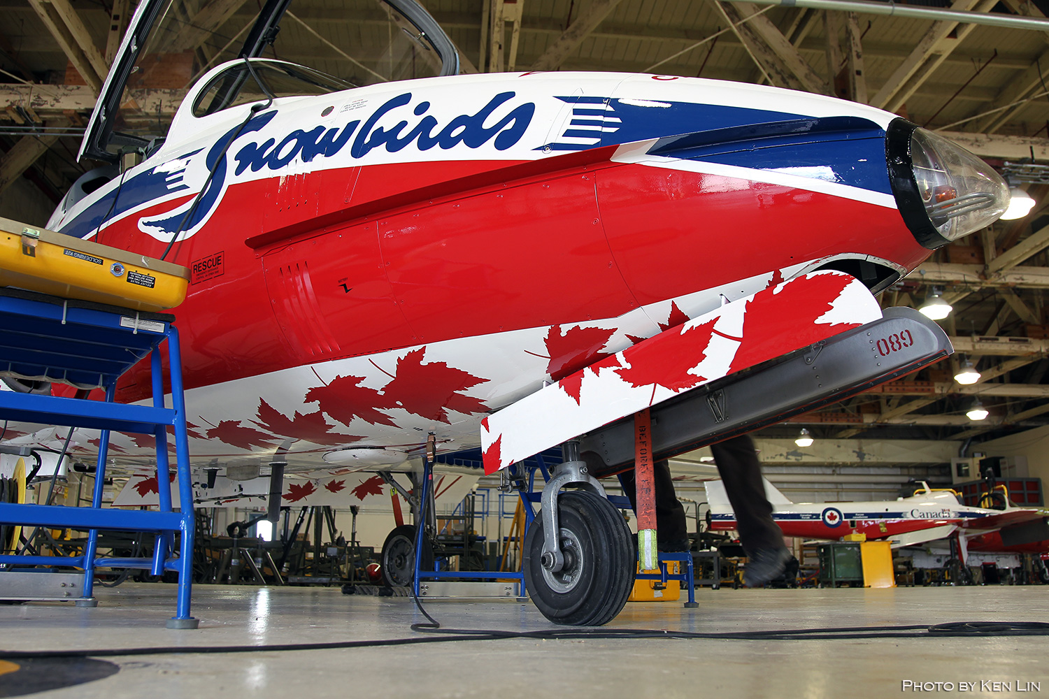 "The ""Canada 150"" Tutor's livery includes the iconic red, white and blue colour scheme, as well as design elements emphasizing Canada's historic 150th anniversary celebration. The official ""Canada 150"" logo is placed on the nose and wings. The tail carries the official name of the celebration – ""Canada 150"" – while underpart of the aircraft displays 150 red maple leaves. PHOTO: © Ken Lin"