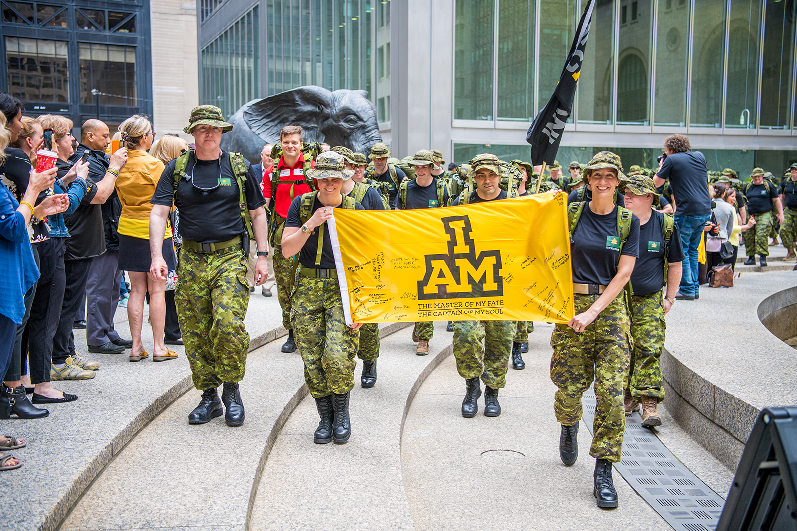 Members of Joint Task Force Central Headquarters march in support of their comrades in arms during the 100-day countdown to the Invictus Games in downtown Toronto on June 15, 2017. PHOTO: Master Corporal Precious Carandang, LX01-2017-0051-009