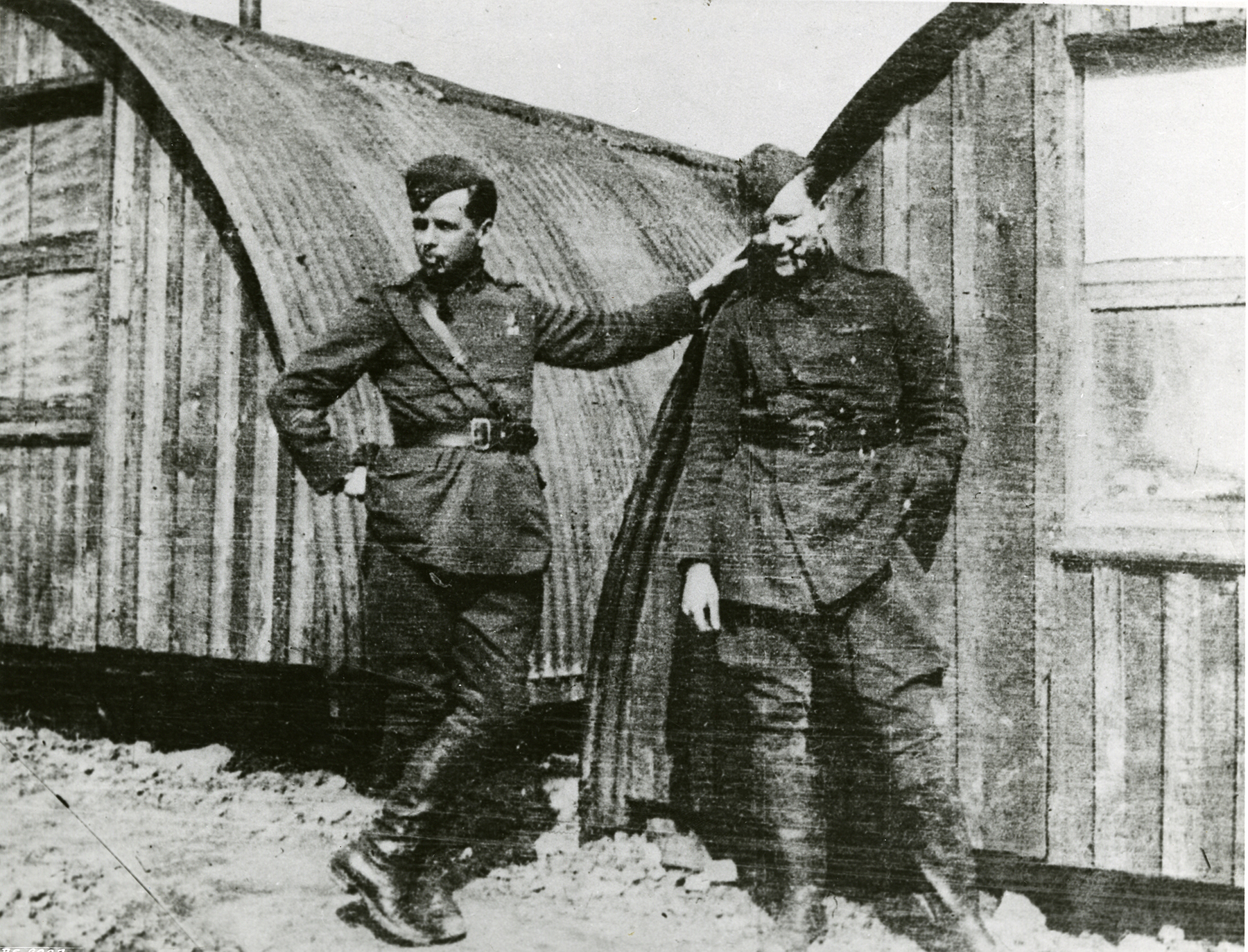 Second Lieutenant Alan McLeod and Lieutenant Arthur Hammond, McLeod's observer, relax outside quarters at their airfield in France just before the action that earned McLeod a Victoria Cross and Hammond a Bar to his Military Cross. PHOTO: Submitted