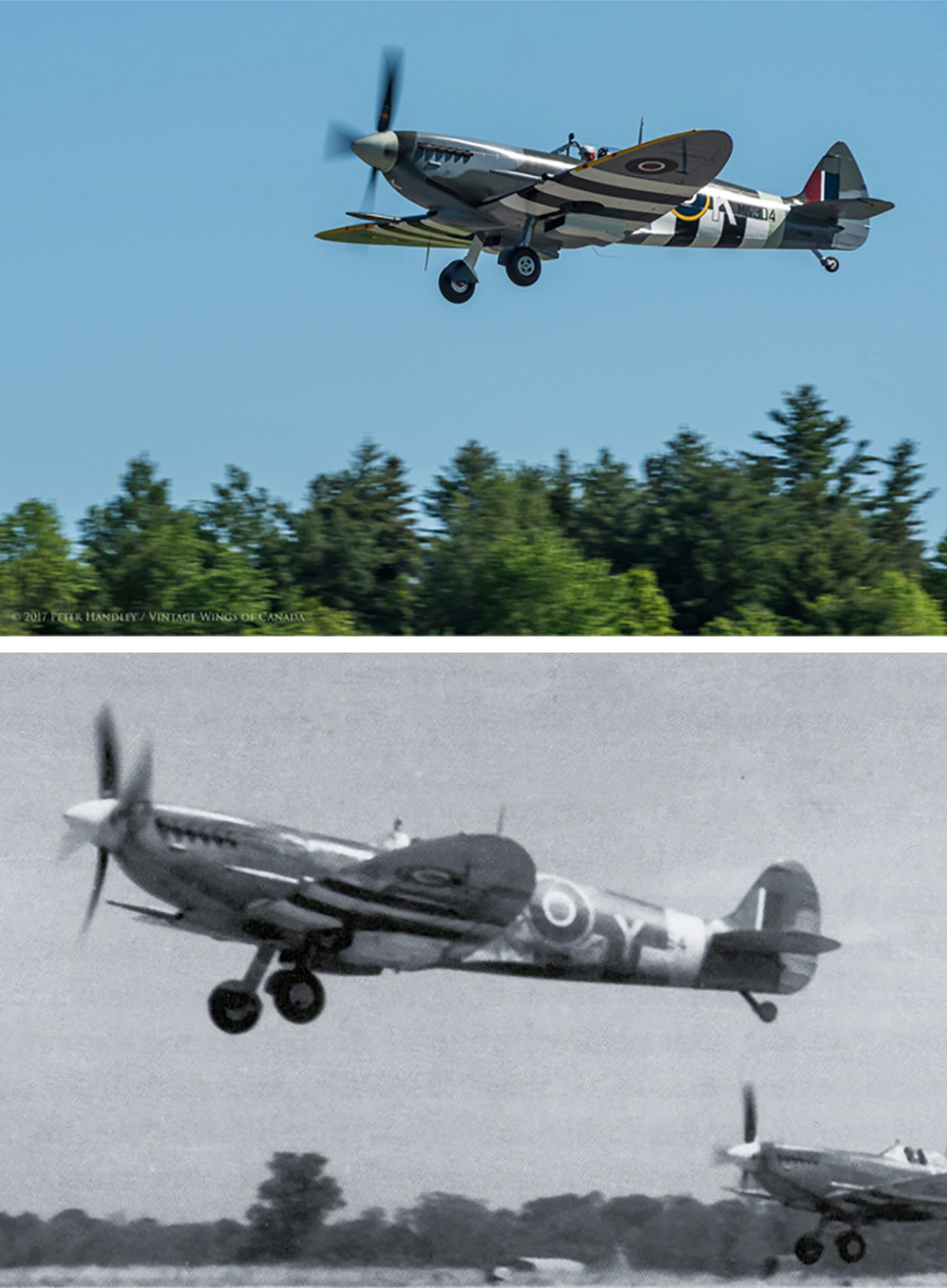 As pilot John Aitken climbs the Roseland Spitfire out on June 7, 2017 (top), we are reminded of a day 73 years ago when a pair of 442 Squadron Spitfires (bottom) climbed to do battle. The vintage photo was crucial in helping Vintage Wings of Canada  determine the markings that would be painted on TE294. PHOTOS: Top, Peter Handley; Bottom: from the Collection of Peter Arnold