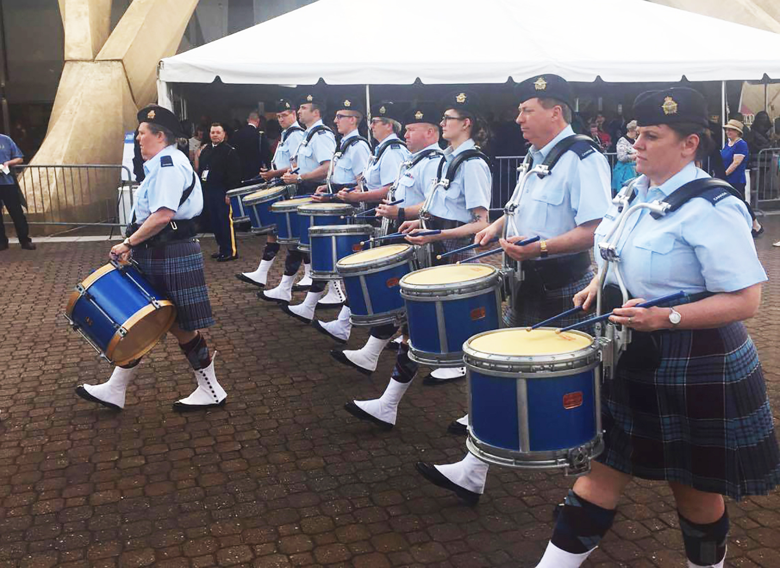 The RCAF drum line steps off during a Hullabaloo performance outside the Scope Centre in Norfolk, Virginia, on April 28, 2016, as part of the Virginia International Tattoo. PHOTO: Madeline Postle