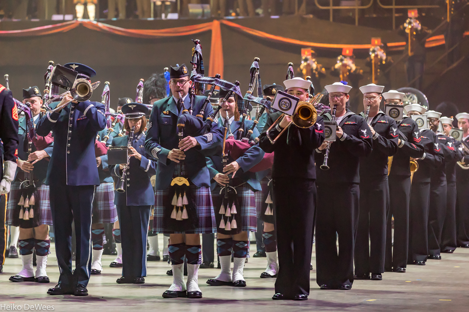 RCAF Pipe Major Josh McFarlane, from 8 Wing Trenton, Ontario, is flanked by U.S. Air Force and Navy musicians during the 2017 Virginia Tattoo. An open-class professional competitive piper hailing from Cambridge, Ontario, Sergeant McFarlane served with the RCAF Band at 17 Wing Winnipeg, Manitoba, before being posted to 8 Wing. PHOTO: Heiko DeWees
